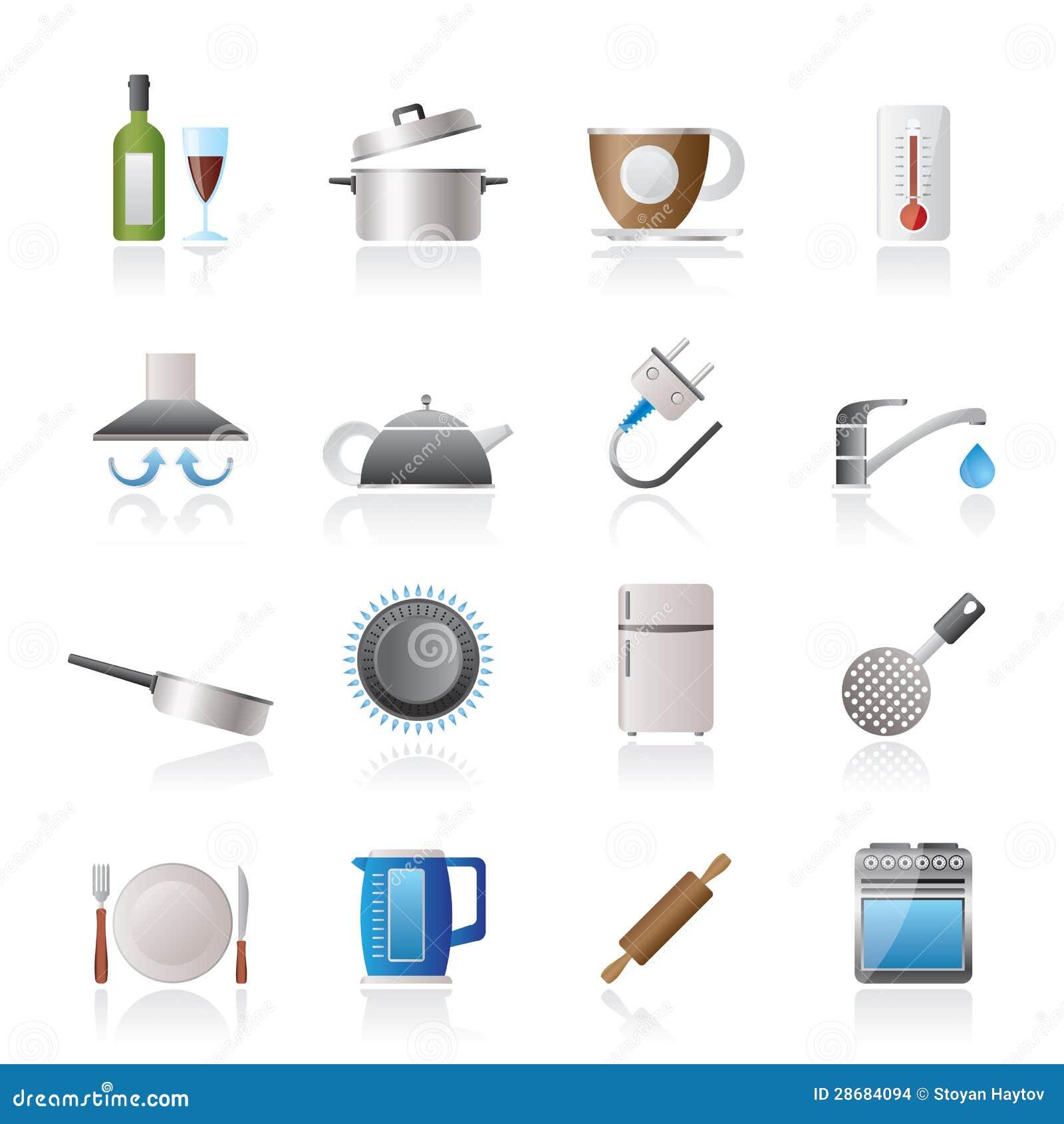 Objetos de la cocina e iconos de los accesorios imagenes for Oggetti cucina