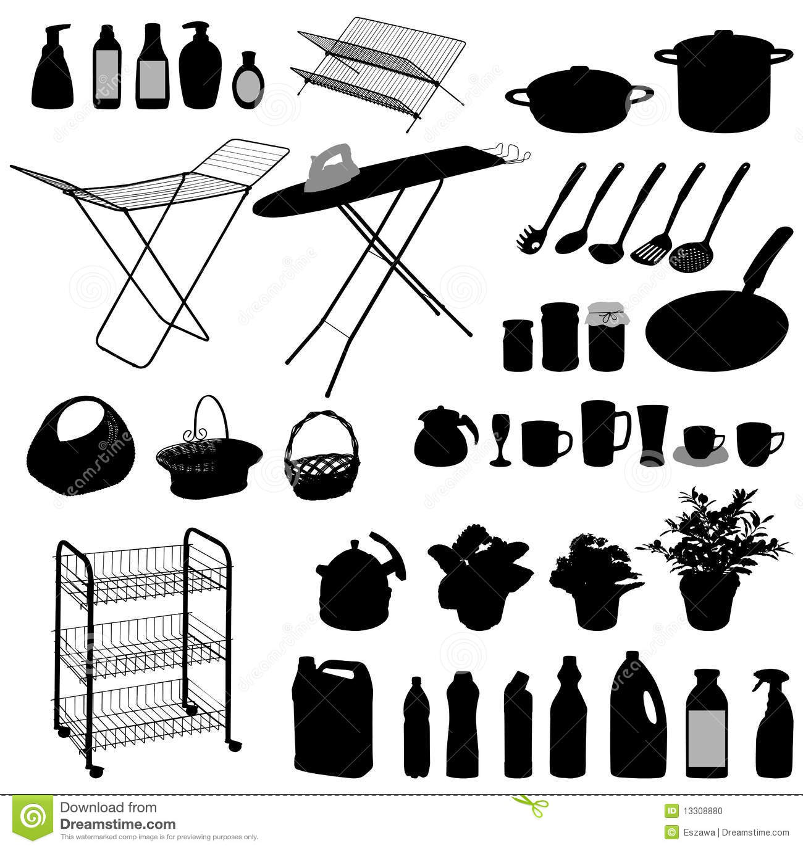 Objetos de la cocina silueta foto de archivo imagen - Objetos de cocina ...