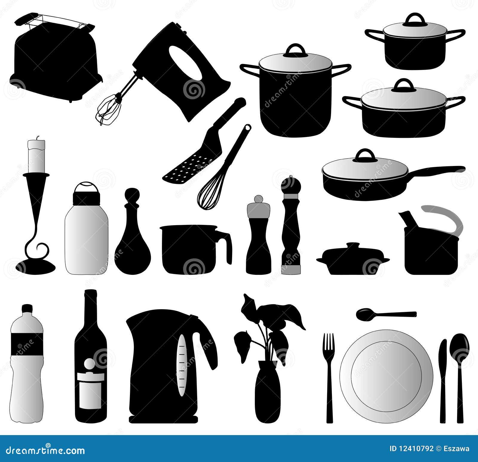 Objetos de la cocina vector de la silueta ilustraci n del - Objetos de cocina ...