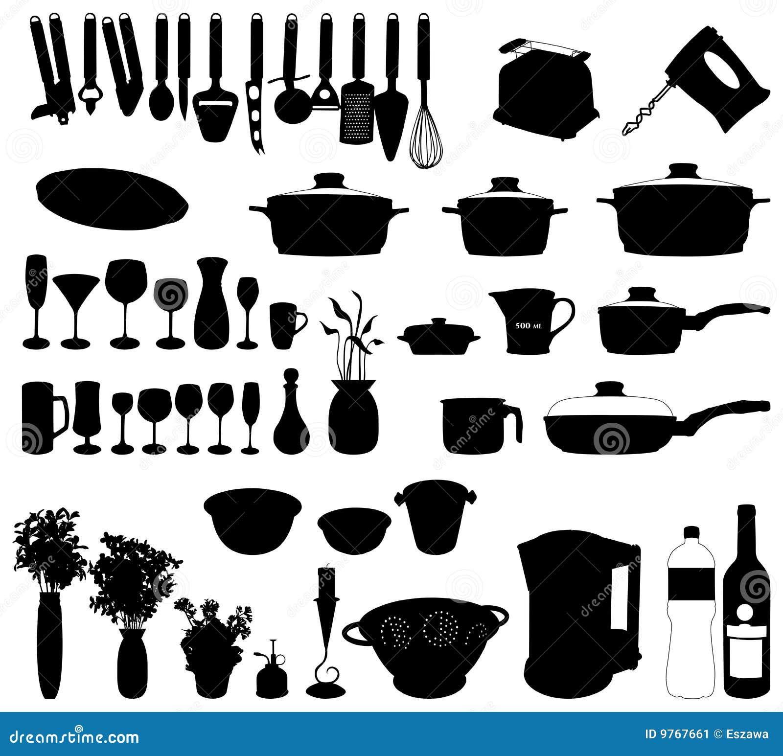 Objetos de la cocina vector de la silueta imagen de - Objetos de cocina ...