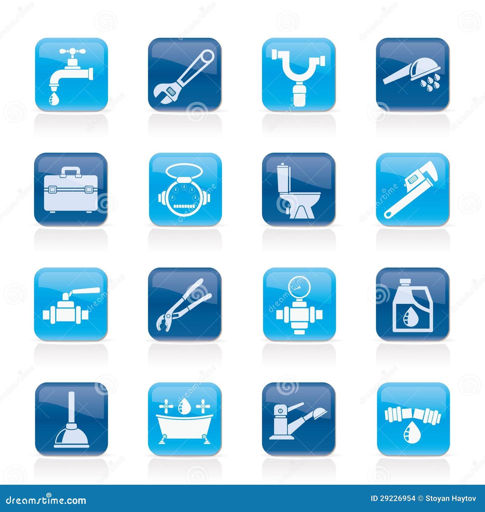 Objetos de la fontaner a e iconos de las herramientas for La proveedora de fontaneria