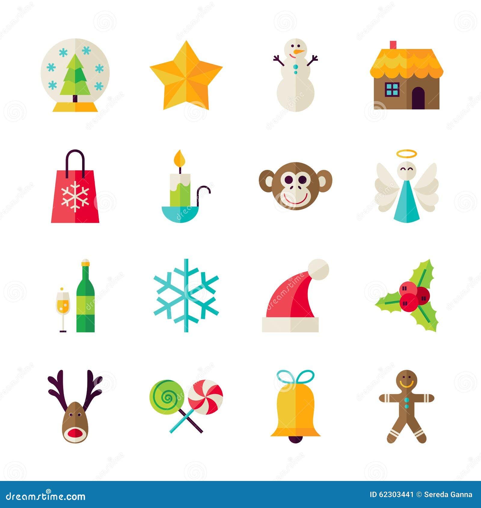 Objetos de la navidad plana del invierno y de la feliz a o nuevo ilustraci n del vector imagen - Objetos de navidad ...