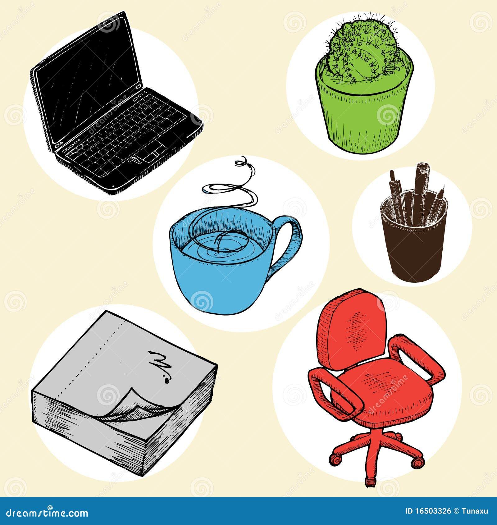 Objetos de la oficina imagen de archivo libre de regal as for Objetos decorativos para oficina