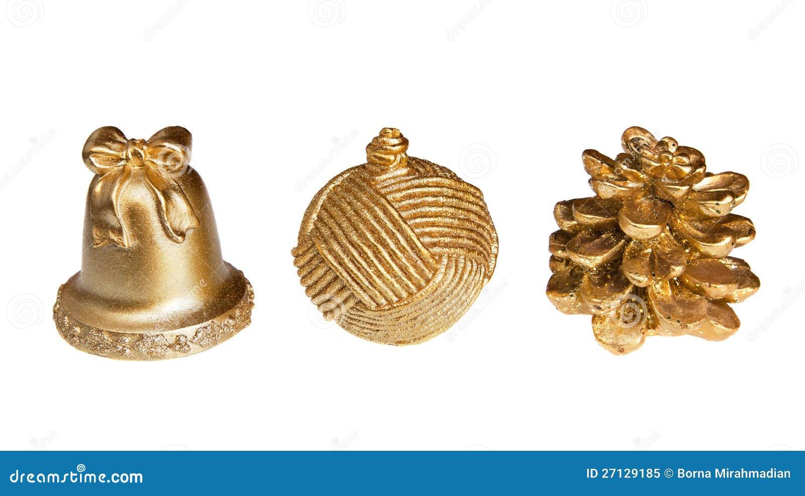 Objetos decorativos isolados do natal dourado imagem de - Objetos decorativos ...