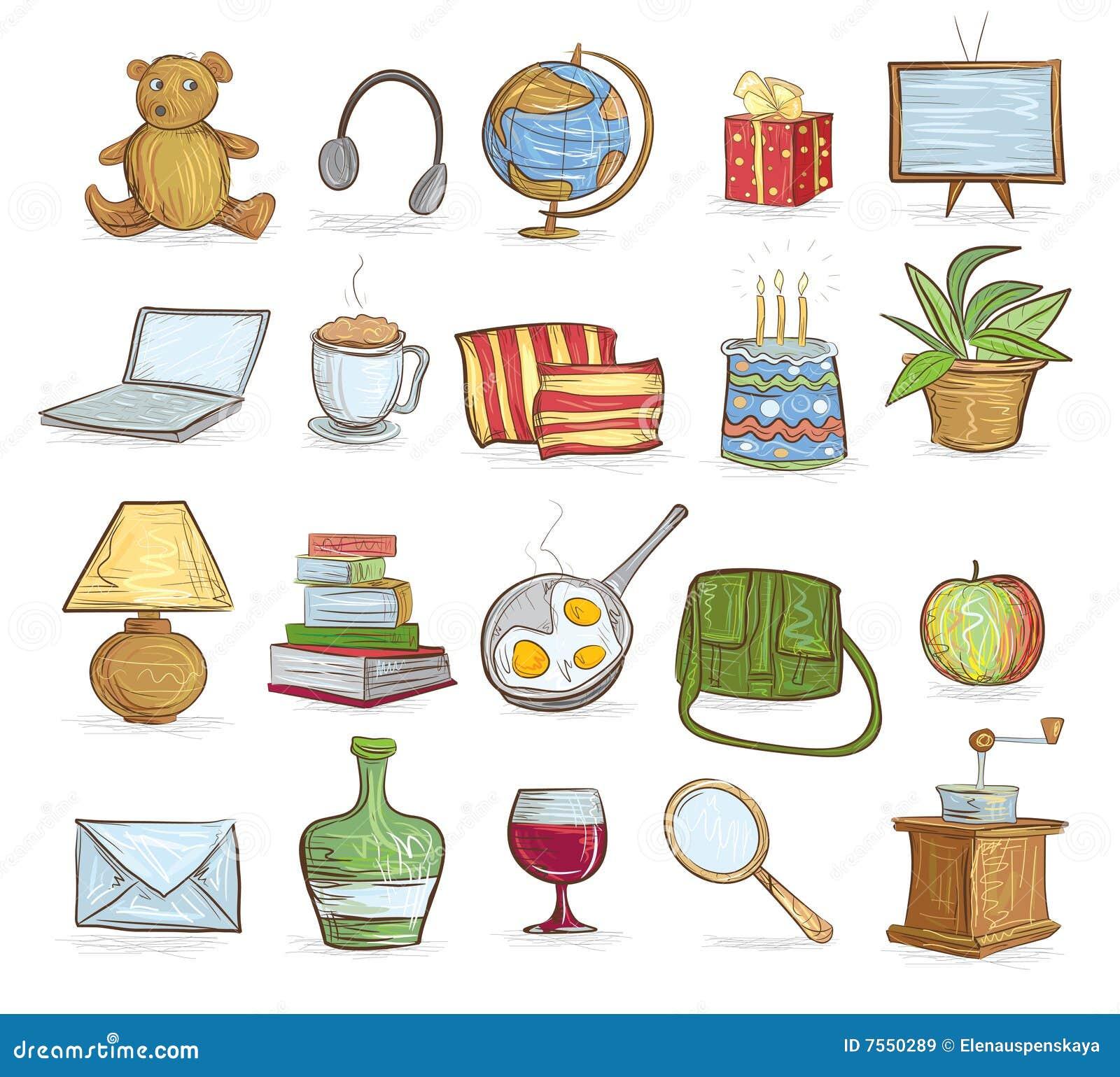 Objetos del hogar ilustraci n del vector ilustraci n de for Cosas del hogar online
