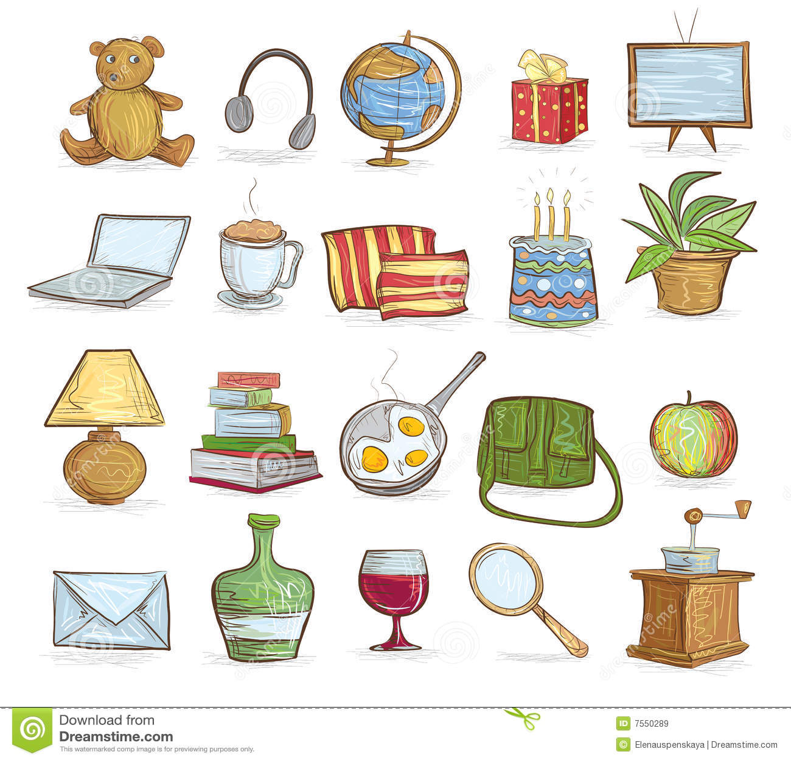Objetos del hogar ilustraci n del vector ilustraci n de for Objetos decorativos para el hogar