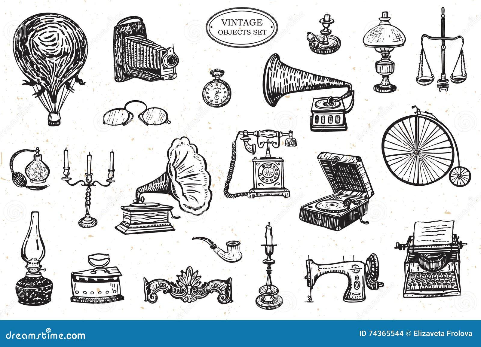 Objetos del vintage fijados ilustraci n del vector - Objetos vintage ...