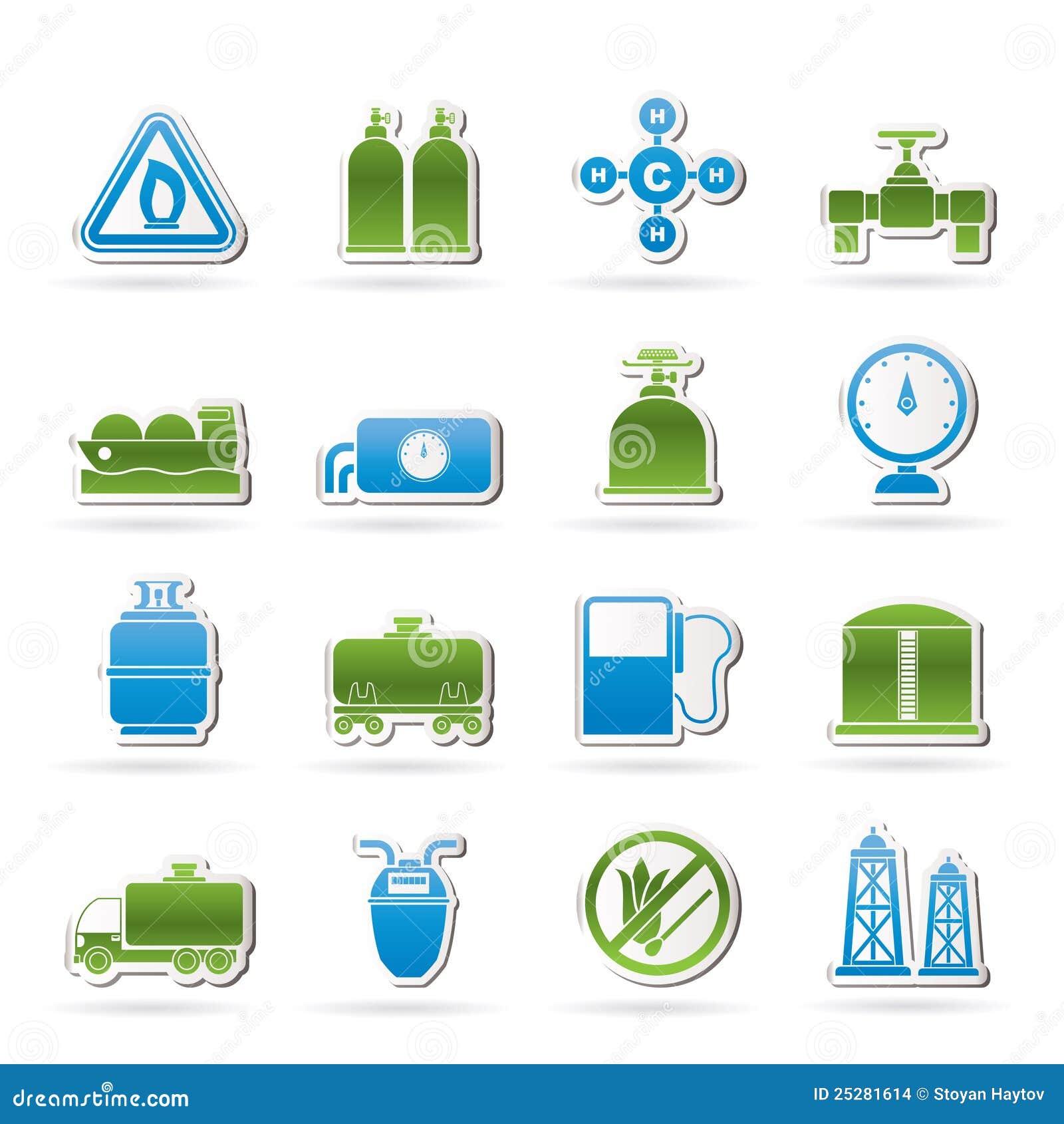 Objetos e iconos del gas natural imagenes de archivo for Imagenes de gas natural