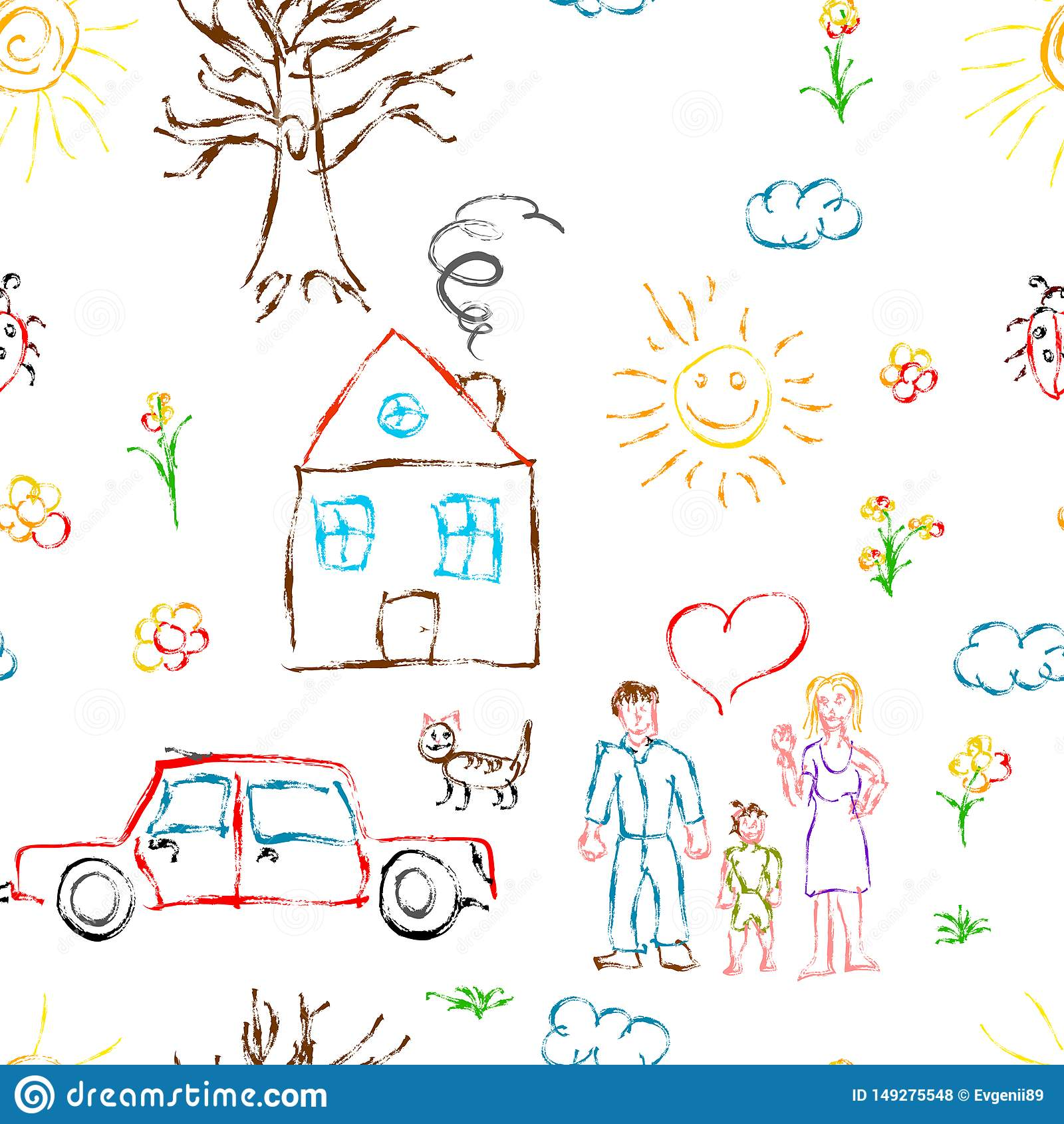 Objetos exhaustos de la mano colorida linda del niño como la familia, las flores, la casa, la hierba, el árbol, el sol y el gato,