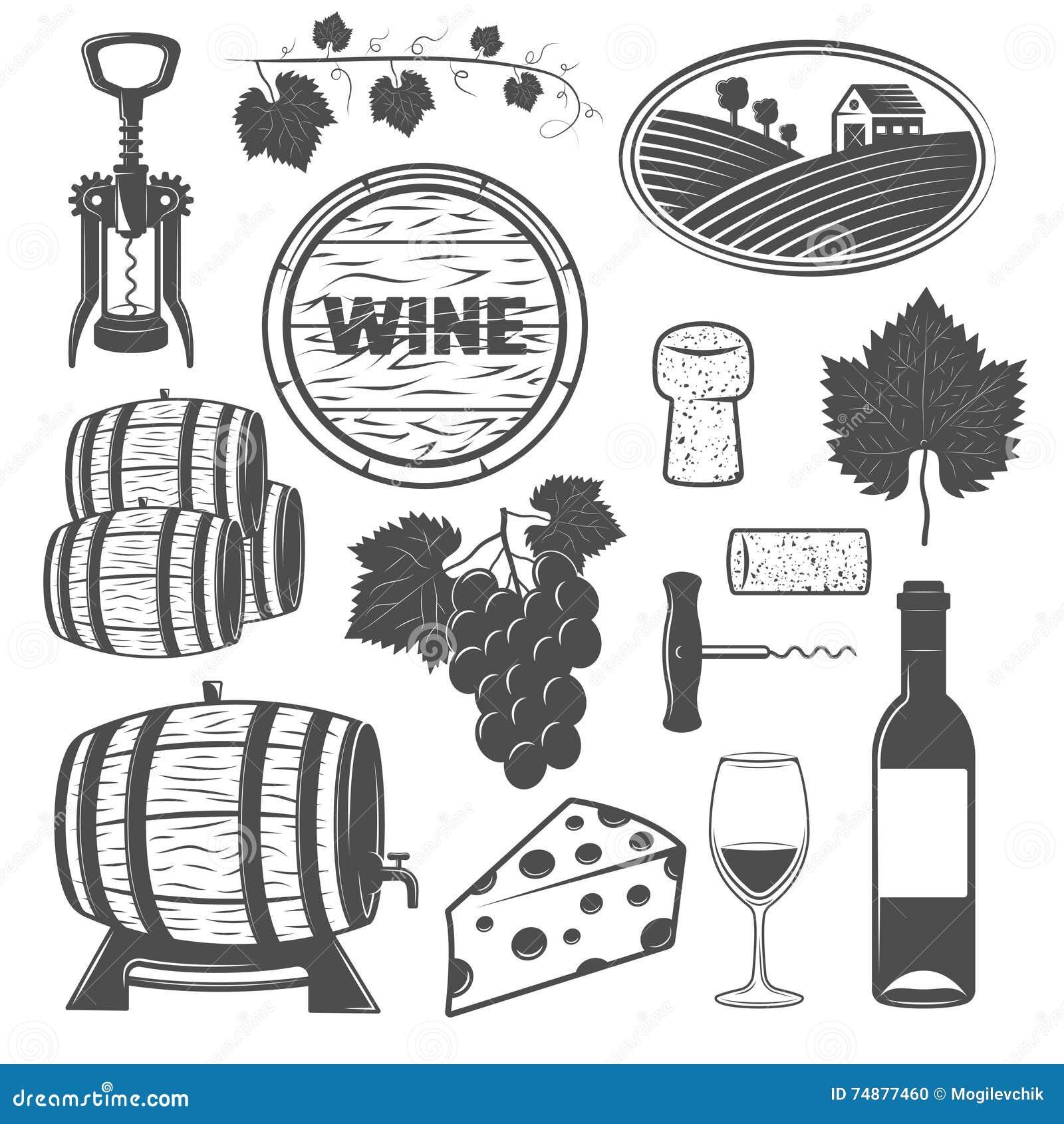 Objetos monocromáticos do vinho ajustados