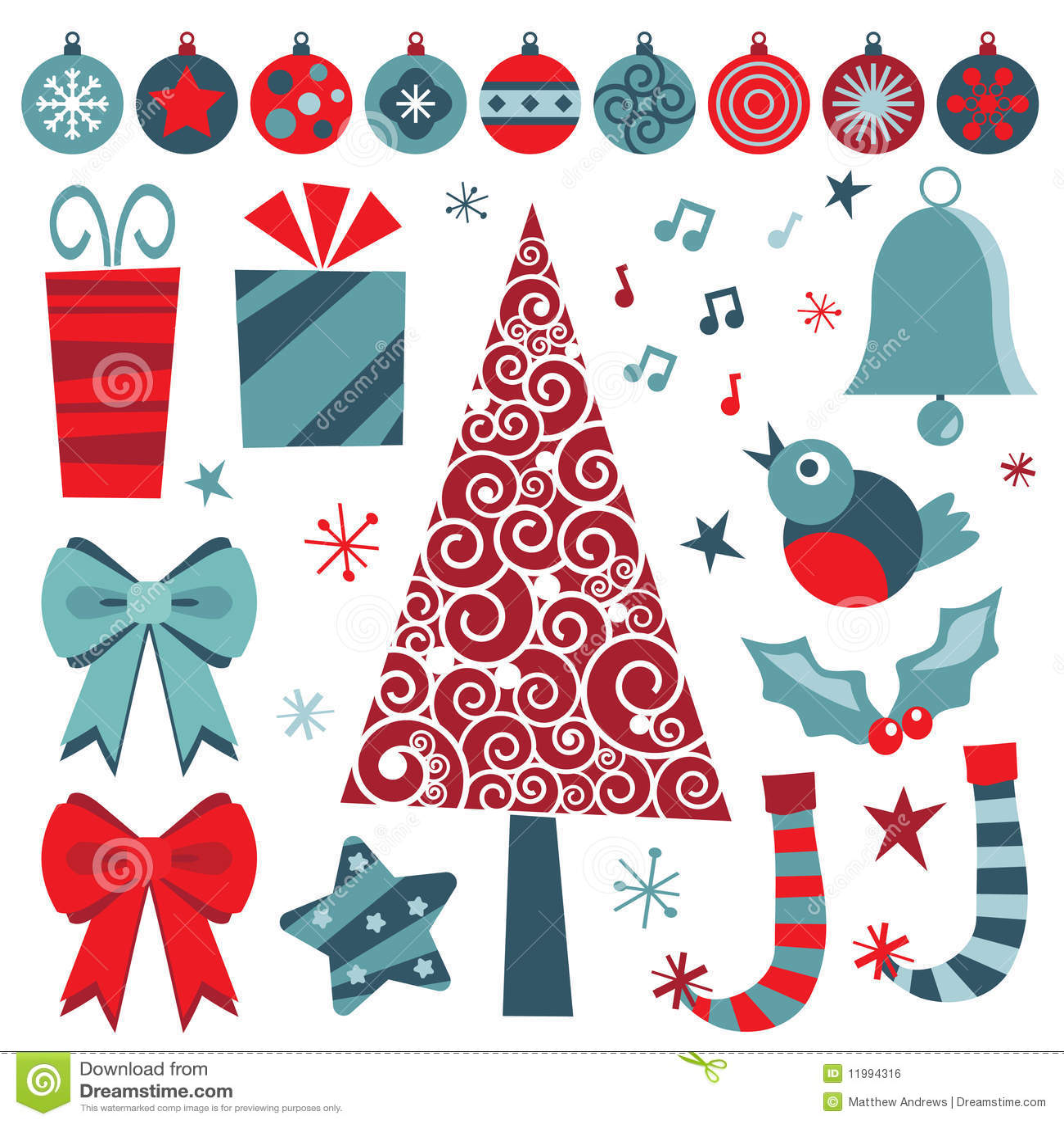 Objetos rojos y azules de la navidad - Objetos de navidad ...