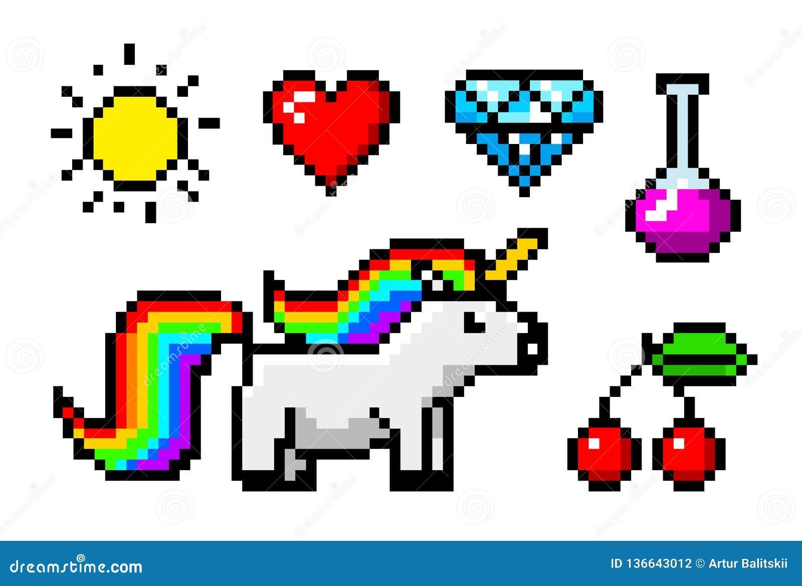 Objets Mordus De Lart 8 De Pixel Licorne Et Trophée De