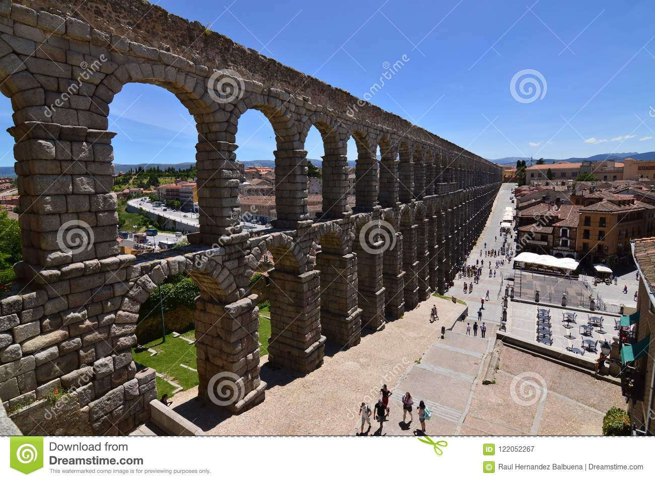 Oblique Side Shot Of The Aqueduct In Segovia. Architecture, Travel, History.