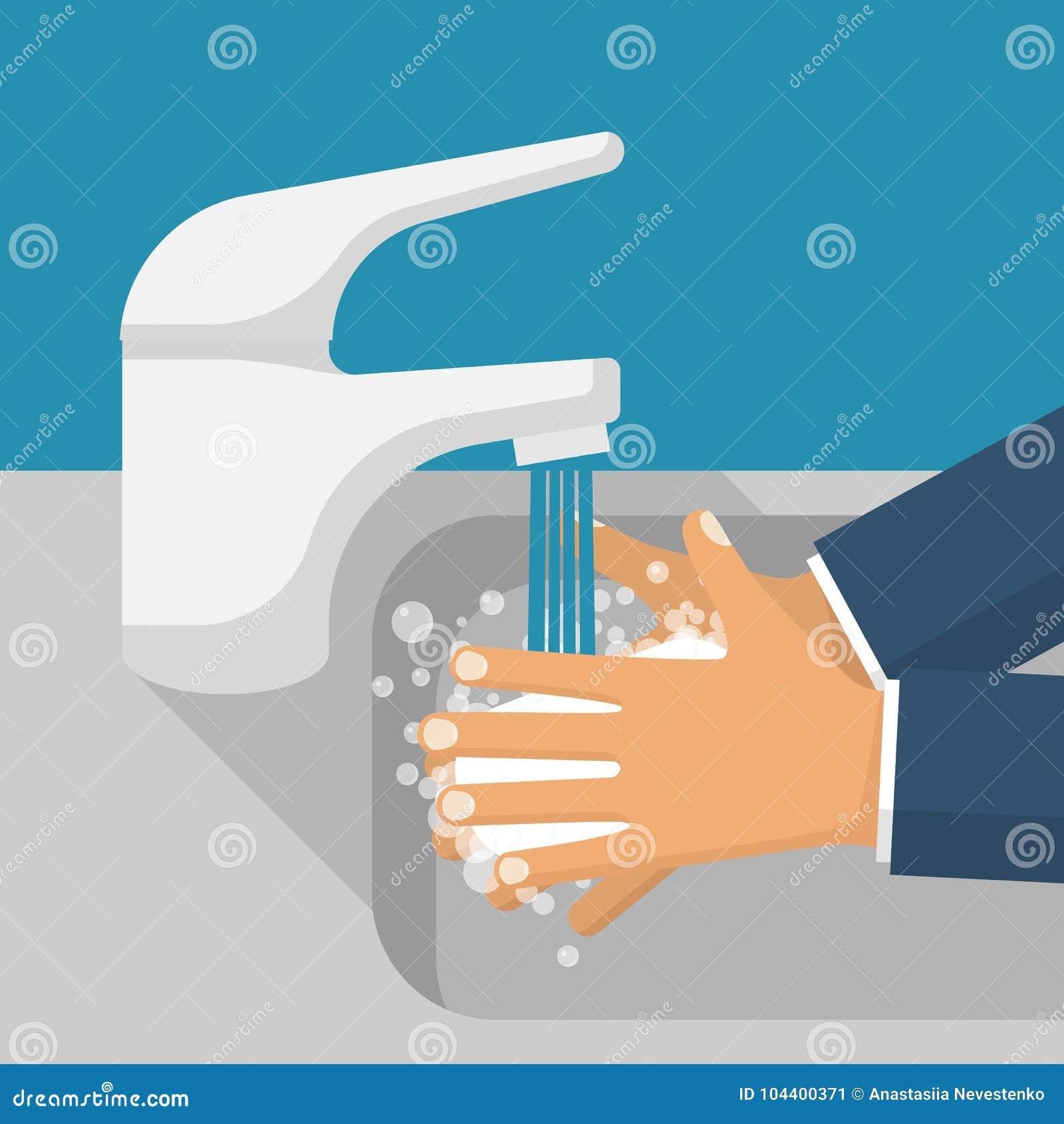 Obmycie ręki w zlew wektorze