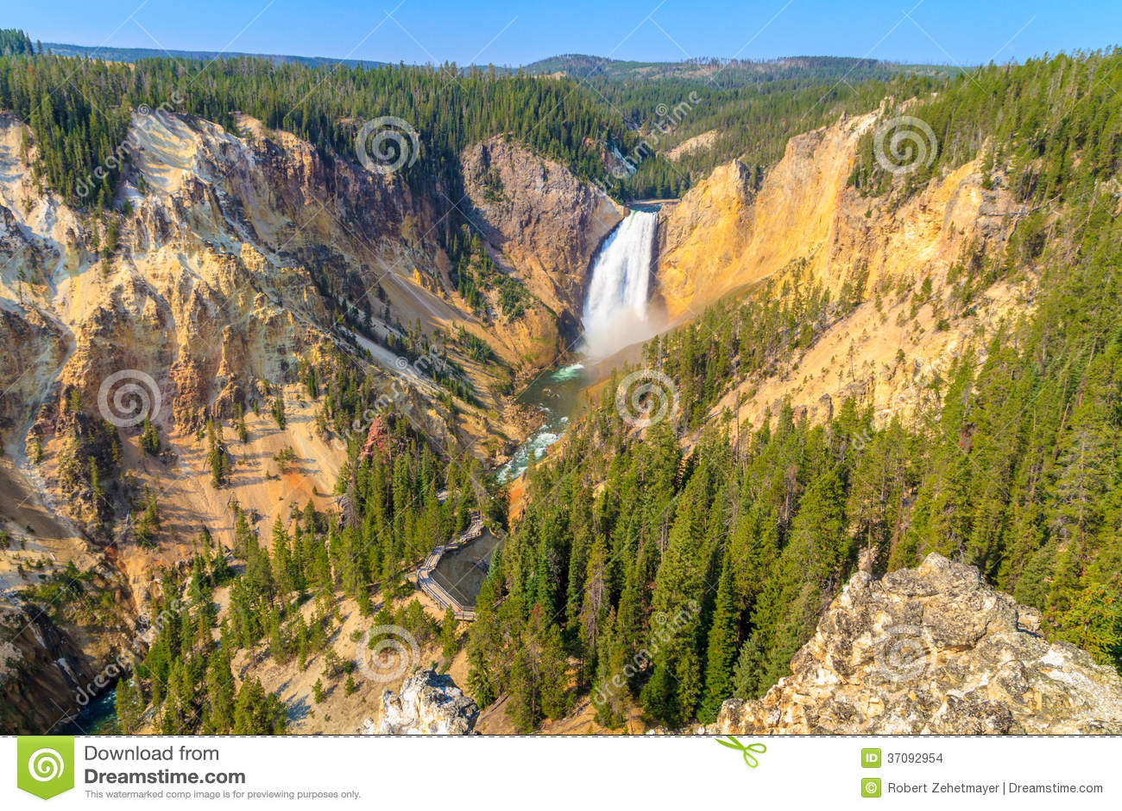 Download Obniża Spadki Uroczysty Jar Yellowstone Park Narodowy Zdjęcie Stock - Obraz złożonej z niski, góra: 37092954