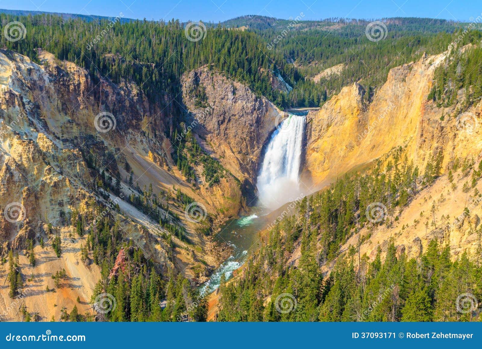 Download Obniża Spadki Uroczysty Jar Yellowstone Park Narodowy Obraz Stock - Obraz złożonej z kaskada, spadek: 37093171