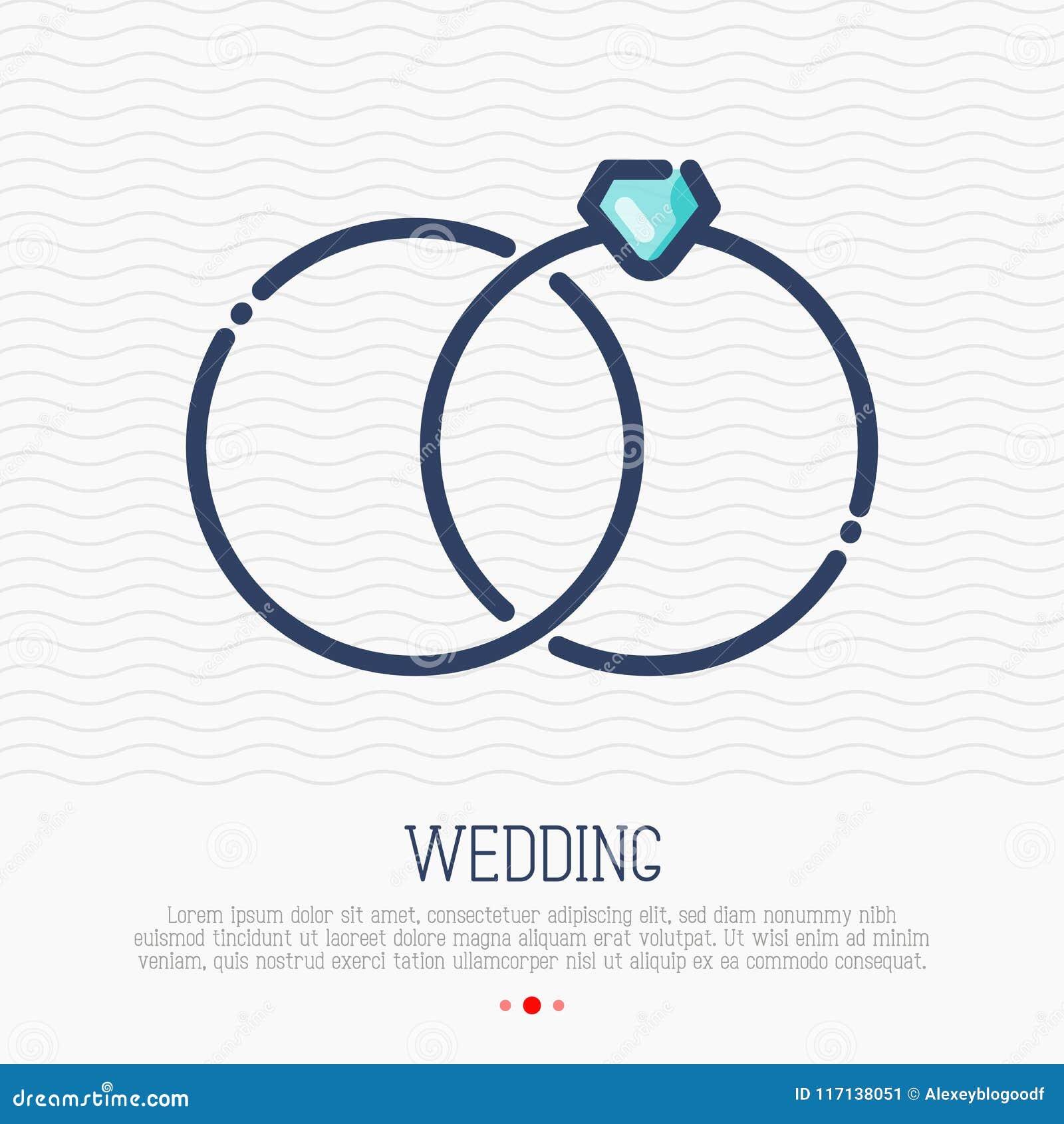 Obrączki ślubne cienieją kreskową ikonę, małżeński status