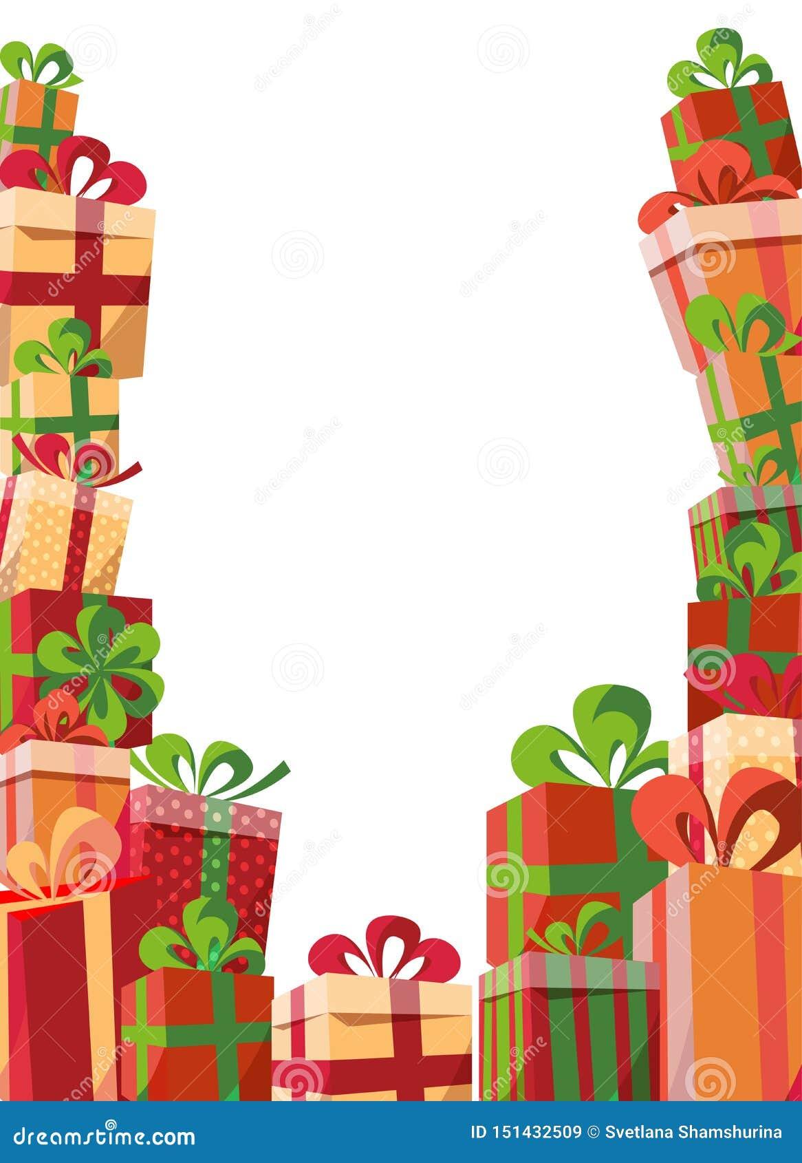 Obramiać prezentów pudełek prezenta pudełka Halni prezenty od trzy stron Piękny Bożenarodzeniowej teraźniejszości pudełko z łękie