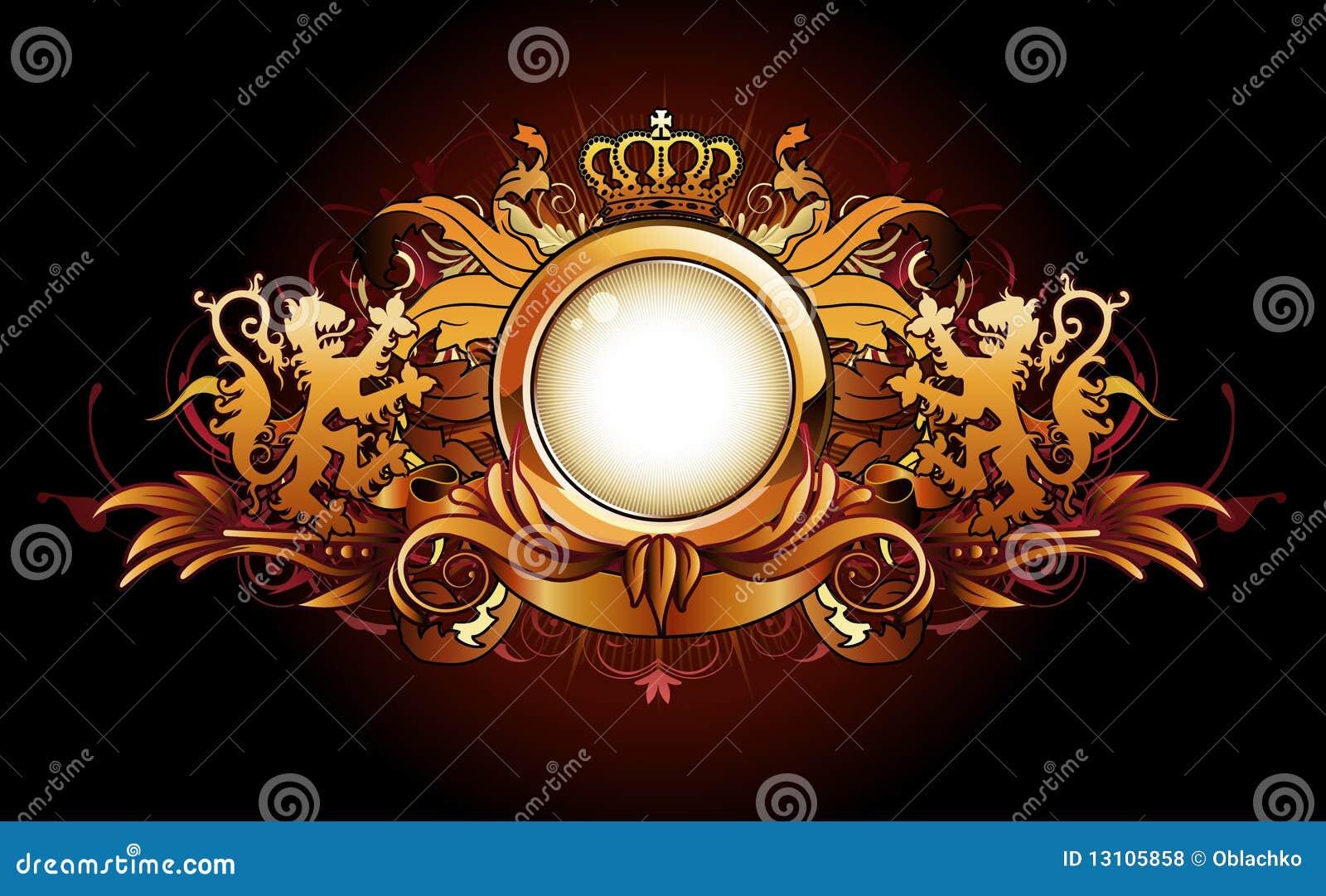 Obramia złoty heraldycznego