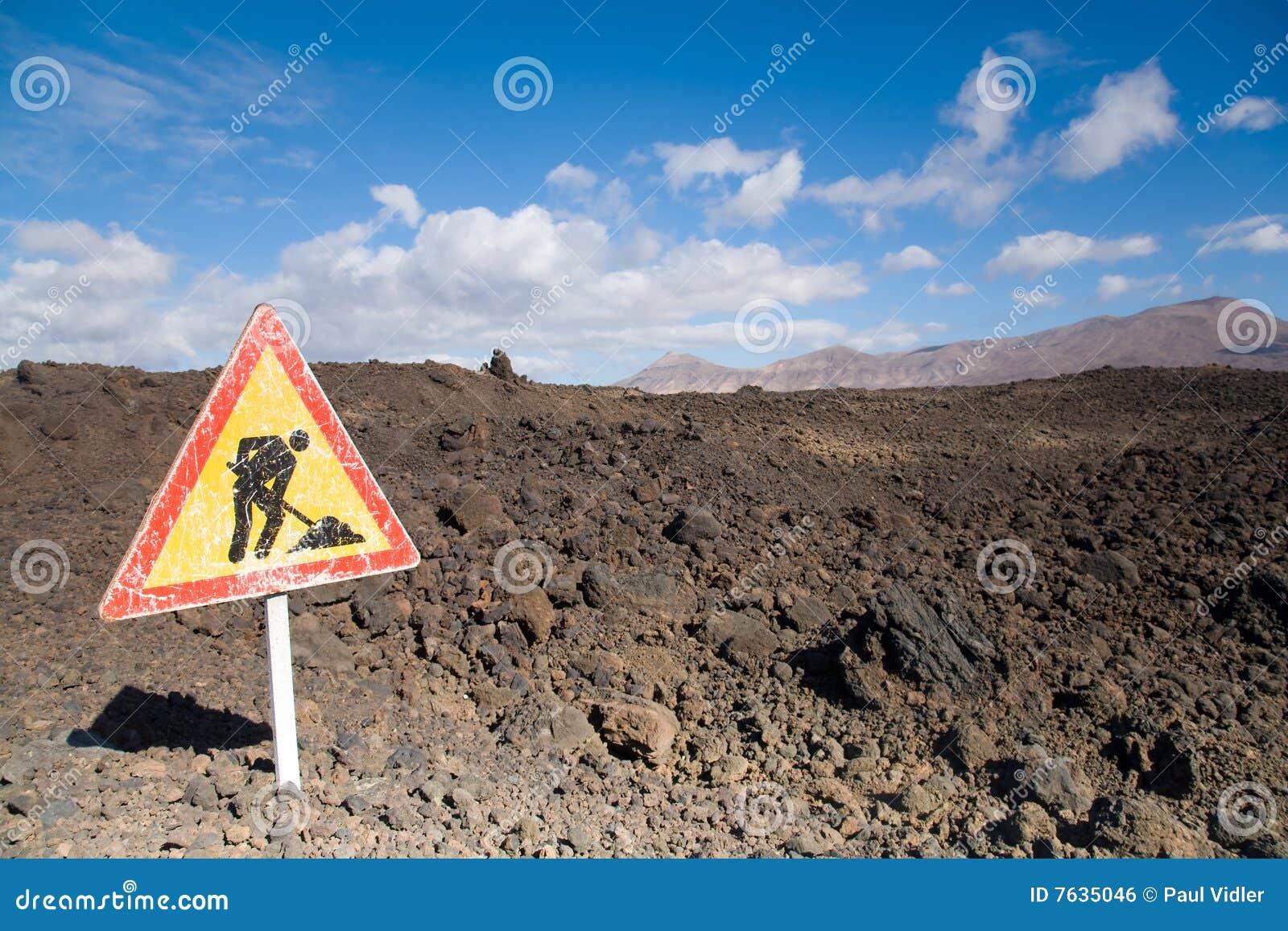Obras por carretera de la lava