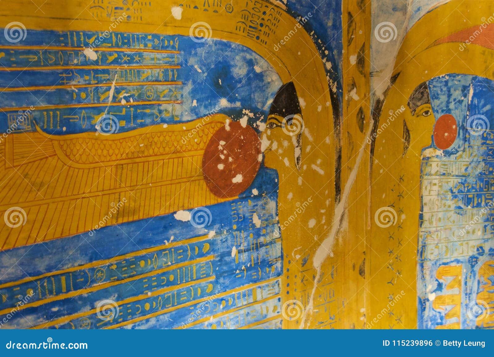 Obraz Egipska bogini dokrętka w dolinie królewiątka w Luxor, Egipt