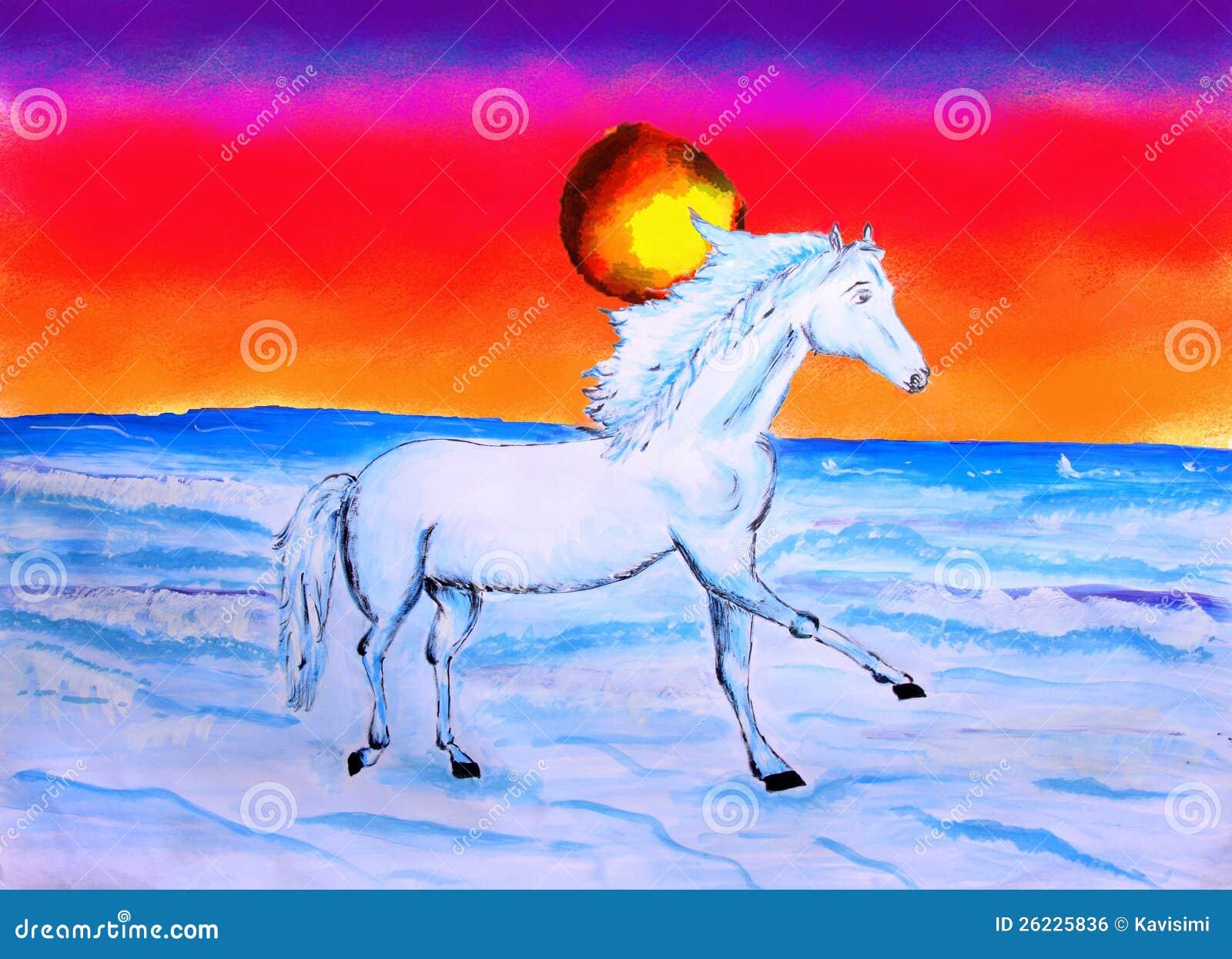 Obraz Konia I Słońca Set Zdjęcie Stock Obraz Złożonej Z Cwał 26225836