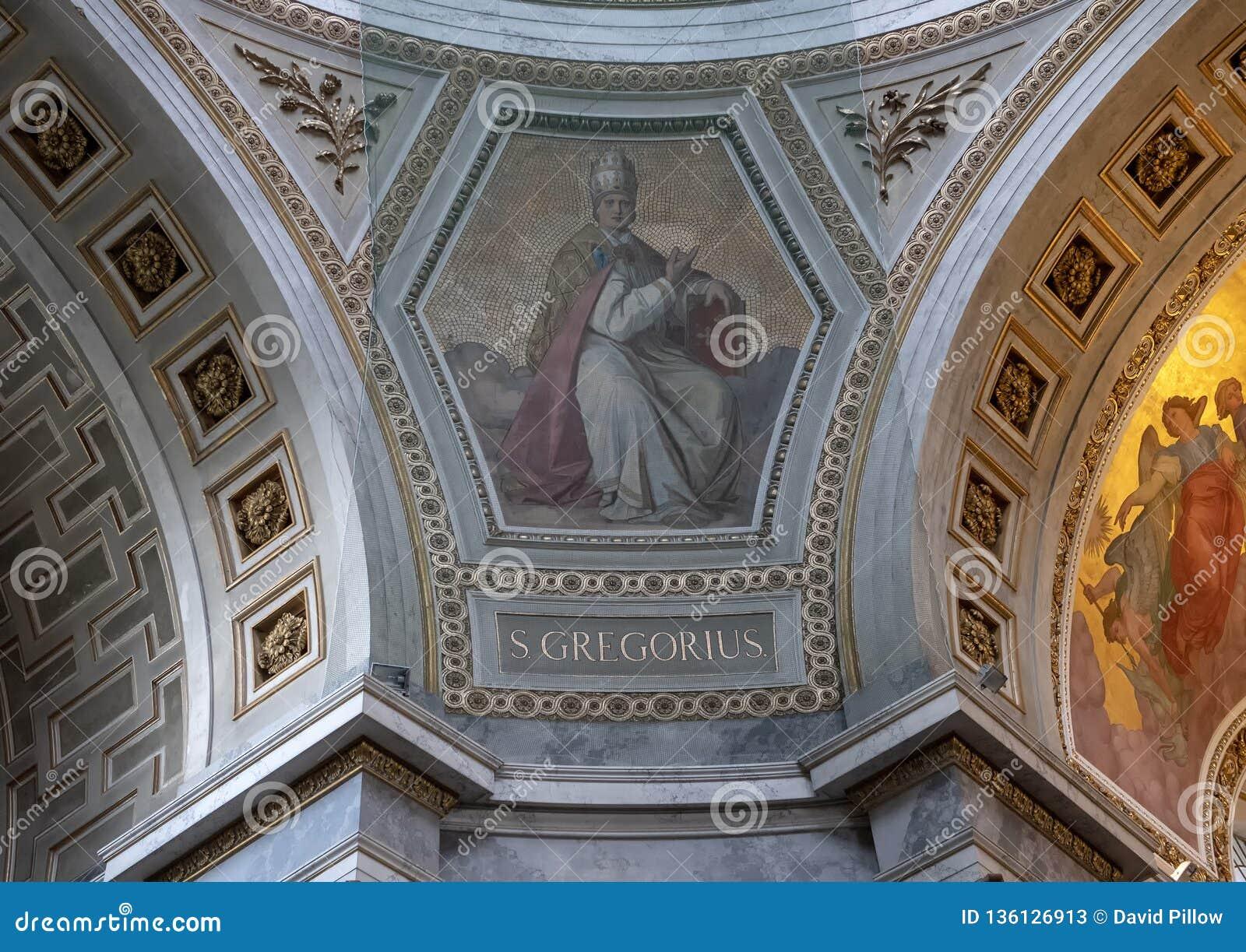 Obraz ochraniający zarabiać netto wśrodku Esztergom bazyliki Świątobliwy Gregorius, Esztergorm, Węgry