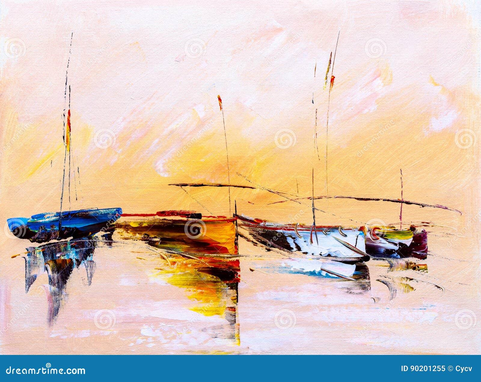 Obraz Olejny - łódź
