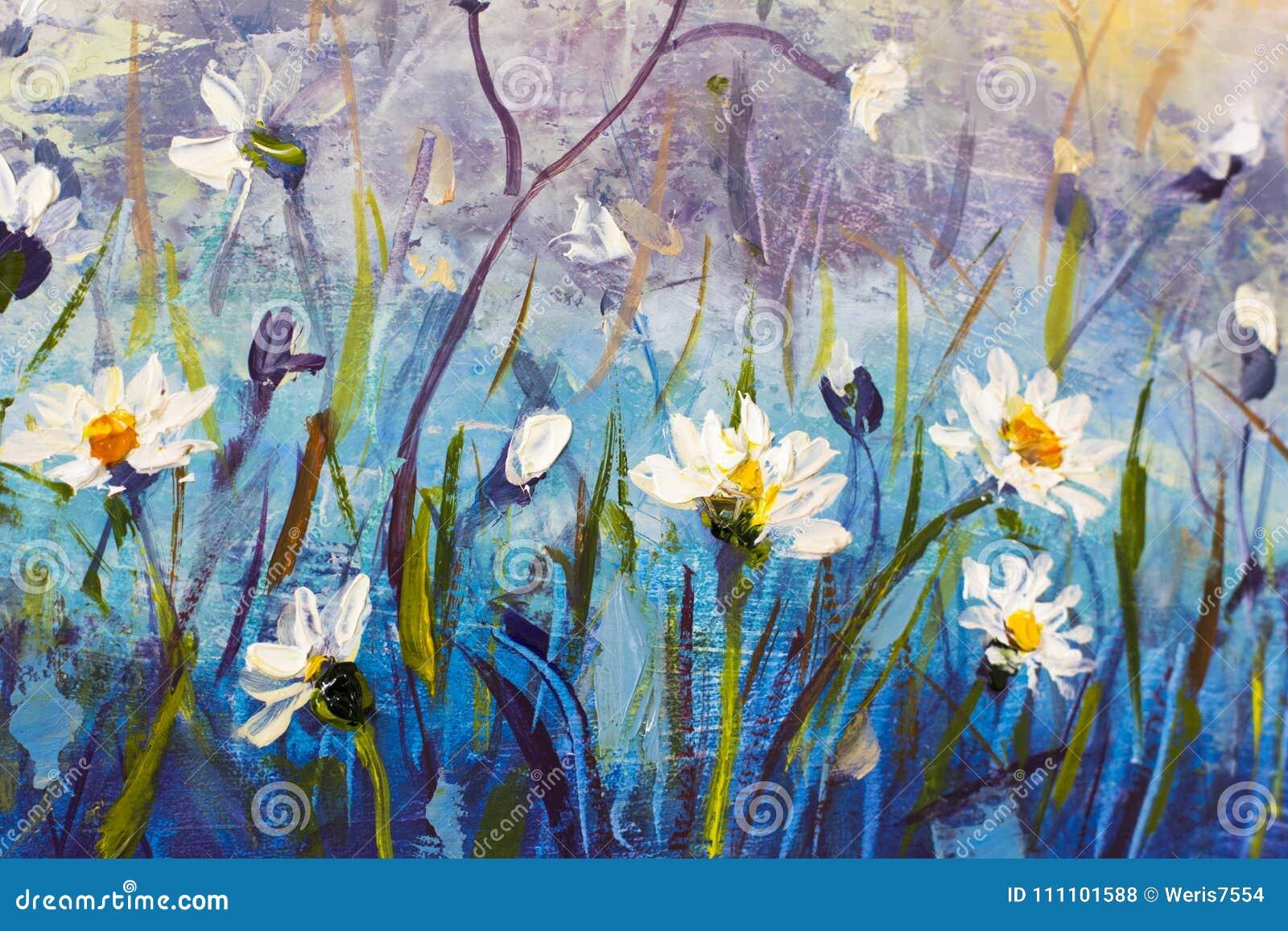 Obraz Olejny Kwiaty Piękny Pole Kwitnie Na Kanwie Nowożytny