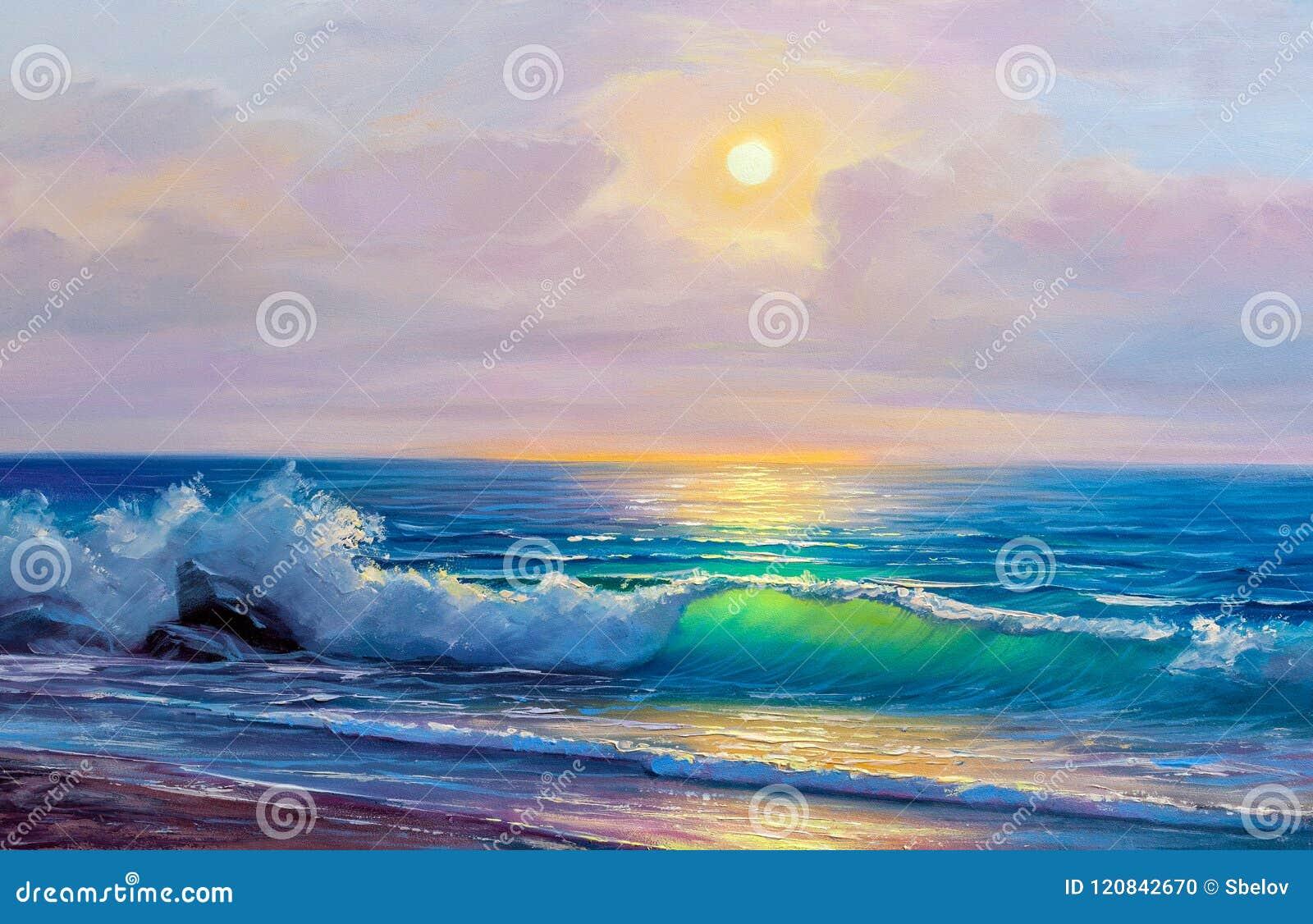 Obraz olejny morze na kanwie