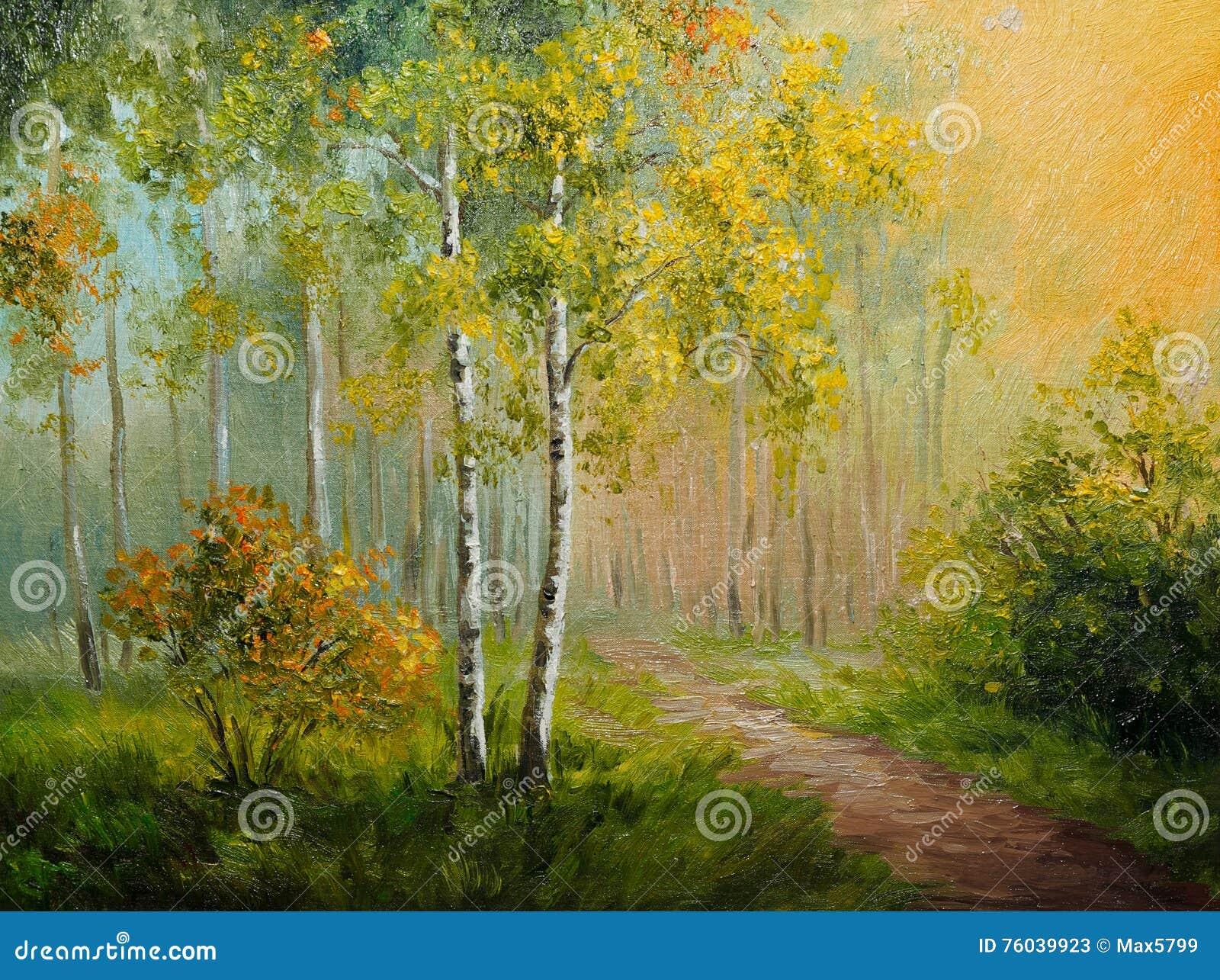 Obraz olejny na kanwie - brzoza las, abstrakcjonistyczny rysunek