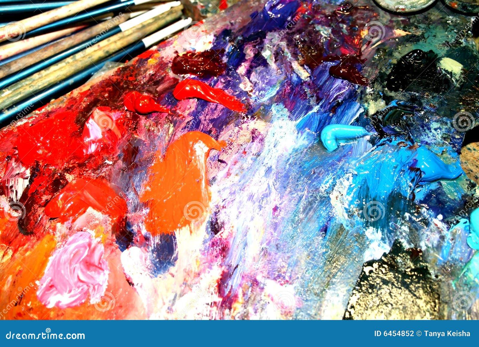 Obraz olejny paleta w