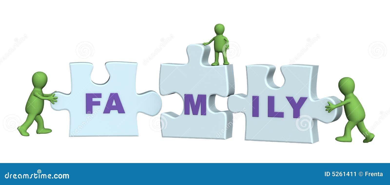 Obraz robi konceptualny rodziny puzzlach