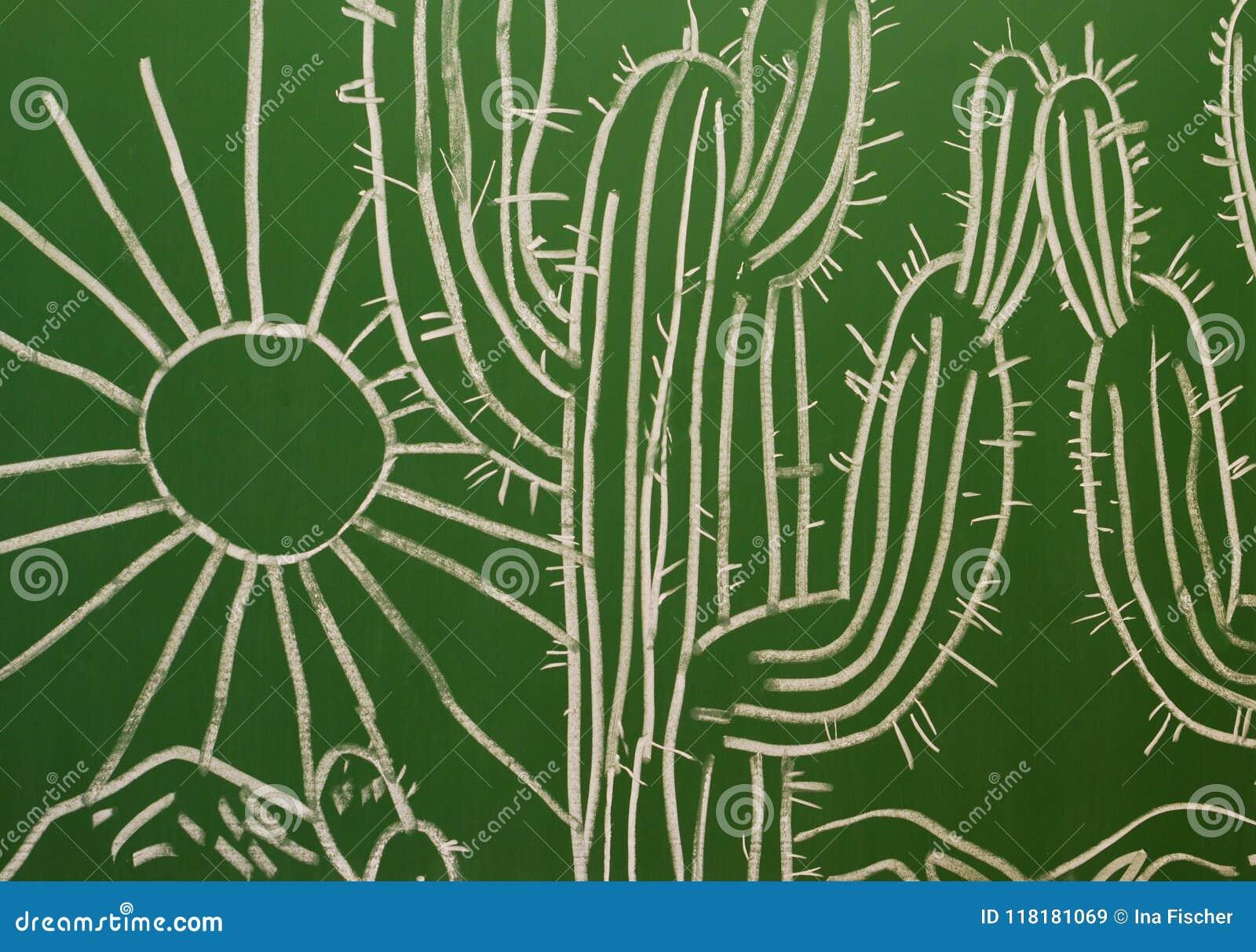 Obraz z kaktusem i słońcem na chalkboard