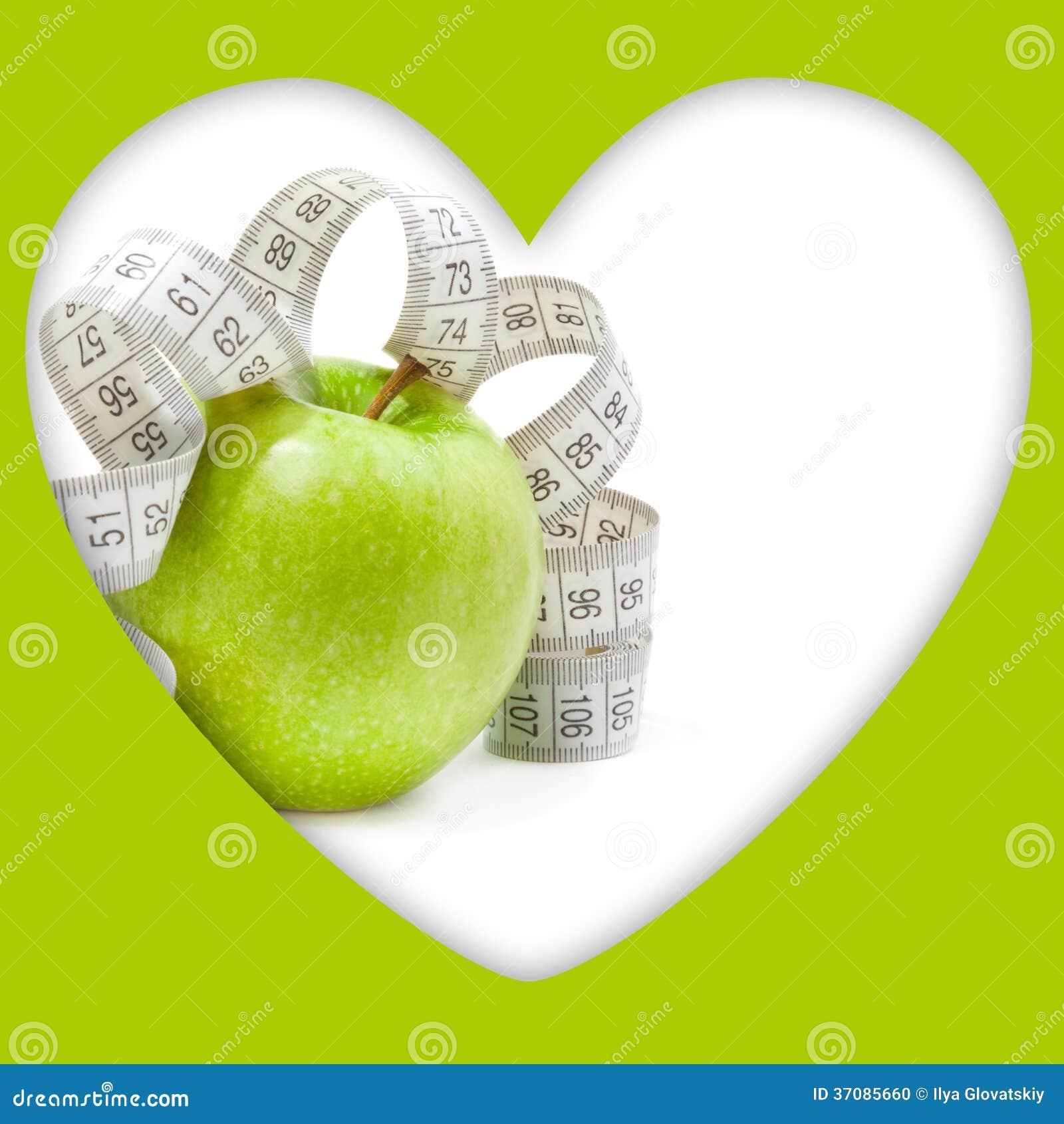 Download Obrazek Zielony Jabłko I Miara Taśmy Zdjęcie Stock - Obraz złożonej z dojrzały, jedzenie: 37085660