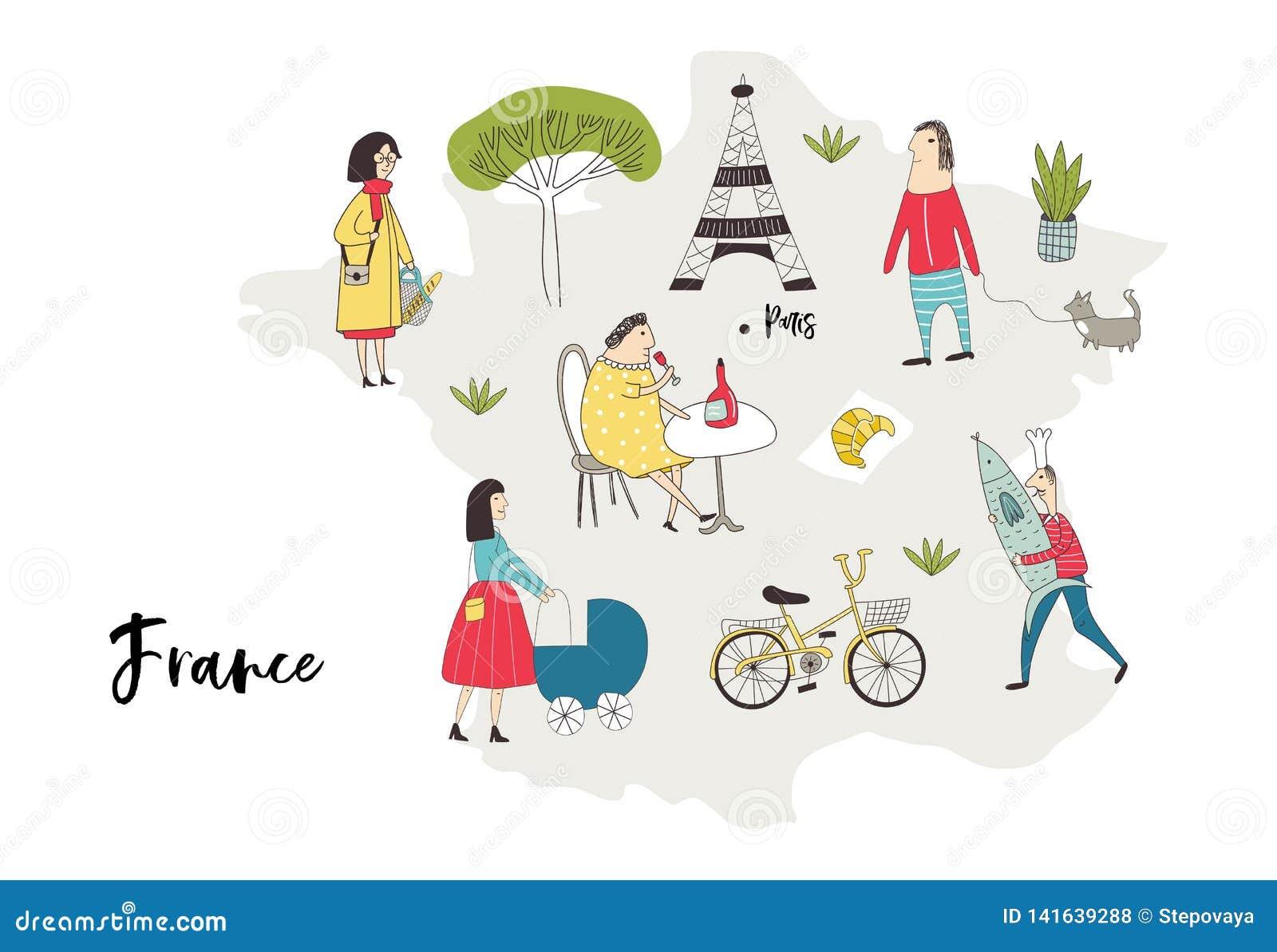 Obrazkowa mapa Francja z charakterami, roślinami i elementami ślicznych i zabawy ręki rysującymi, kolor plażowej dziewczyny ilust