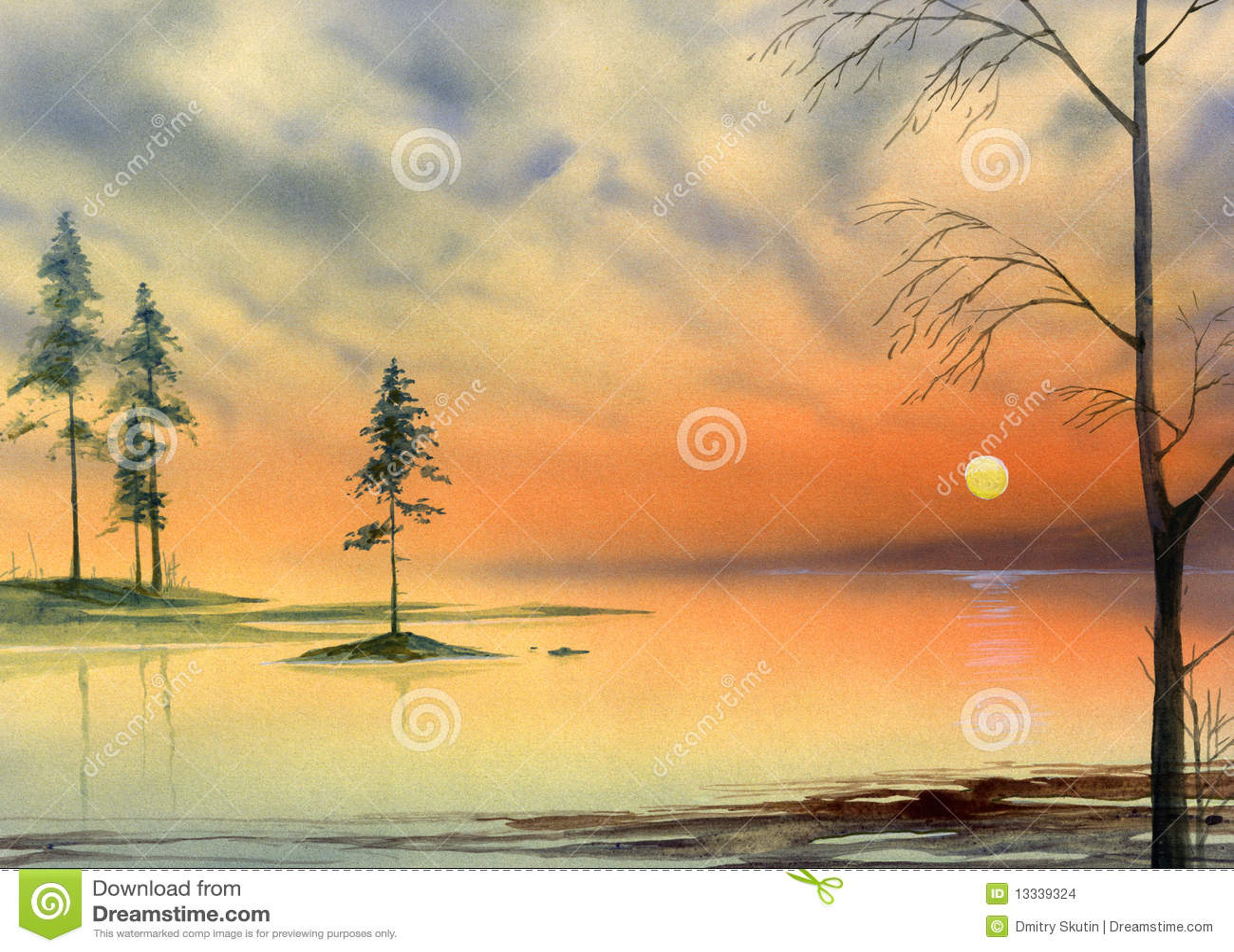 Obrazu jeziorny zmierzch