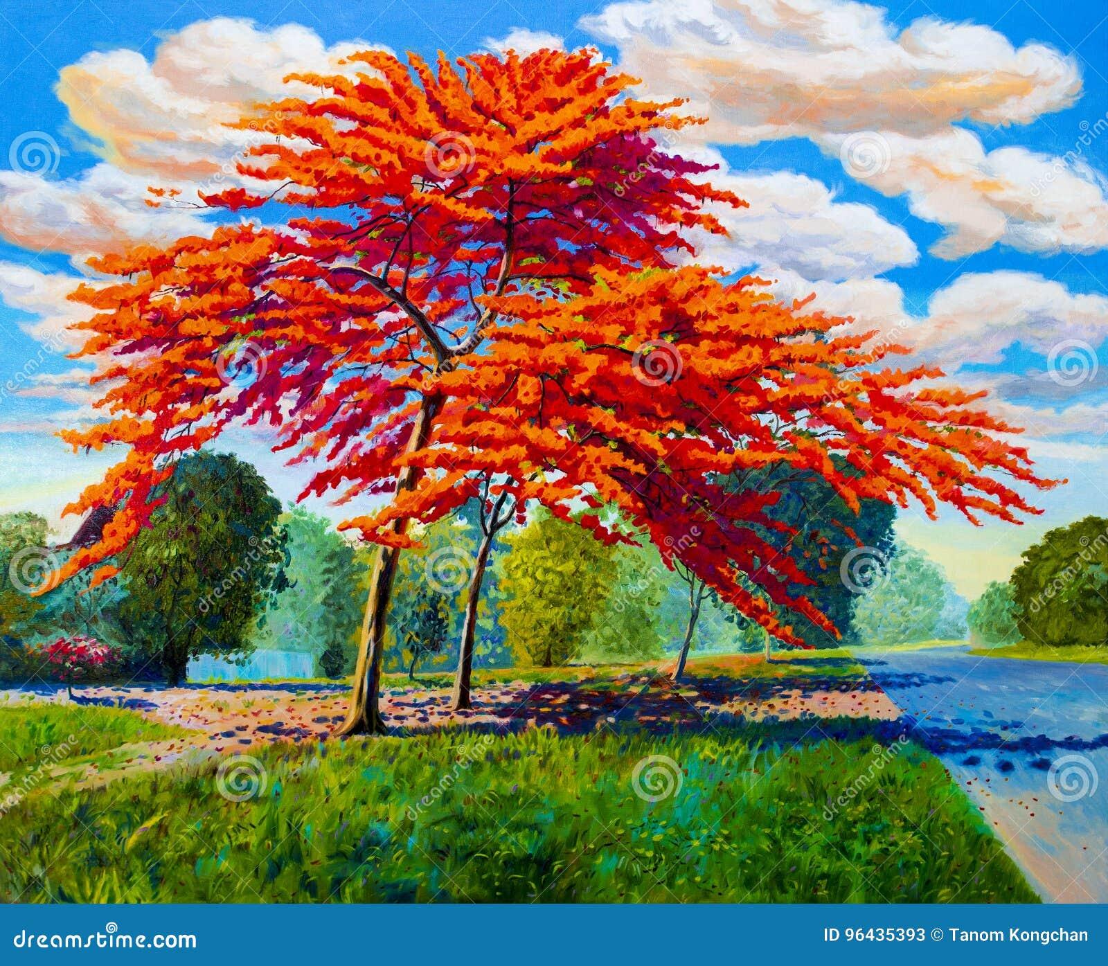 Obrazu olejnego krajobrazowy oryginalny czerwony pomarańczowy kolor paw
