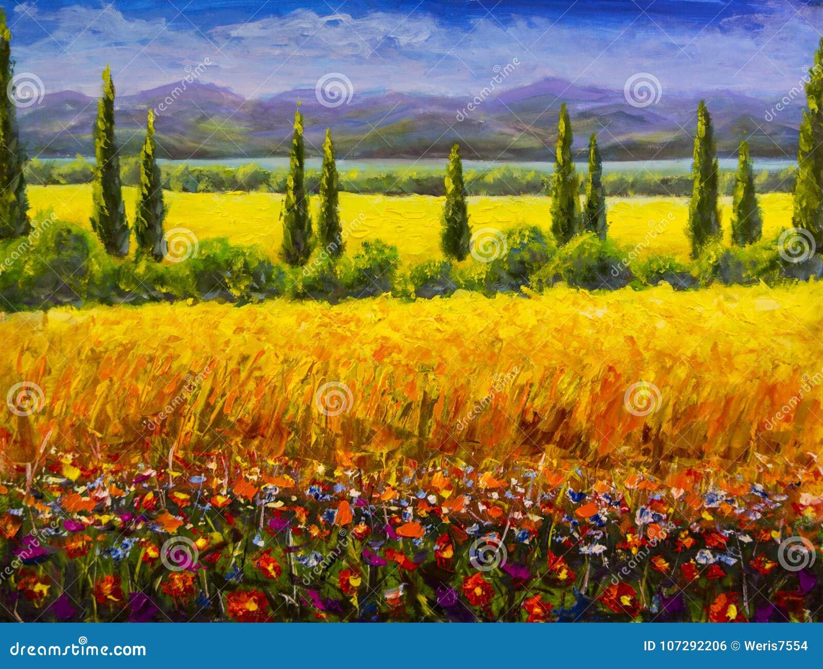 Obrazu olejnego lata Tuscany Włoski krajobraz, zieleni cyprysów krzaki, koloru żółtego pole, czerwoni kwiaty, góry i niebieskie n