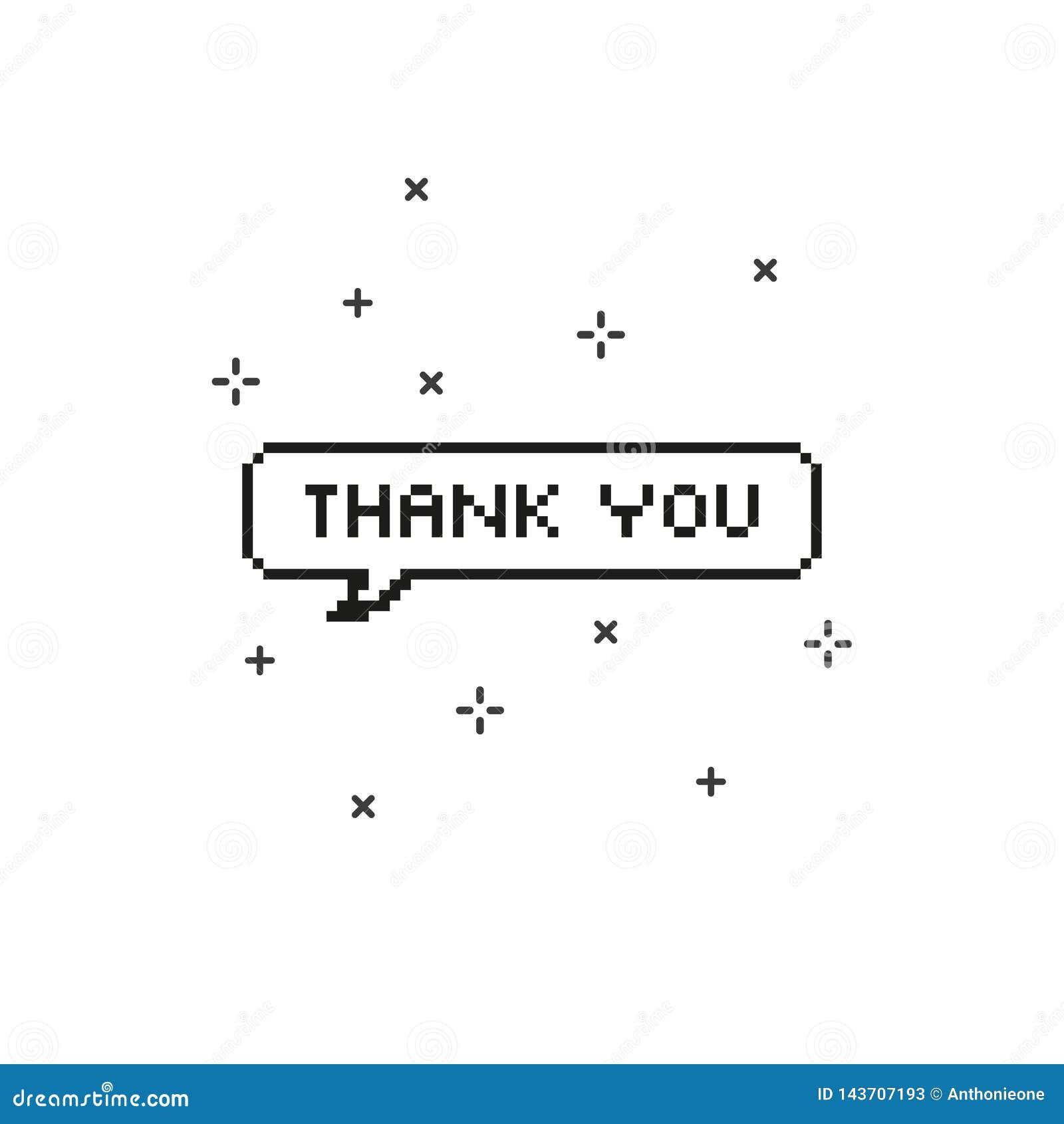 Obrigado na arte mordida do pixel da bolha 8 do discurso