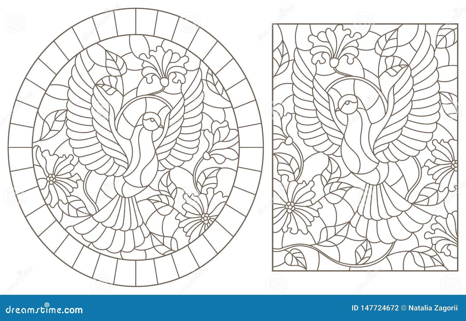 Obrysowywa set z ilustracjami witraż Windows z latającymi gołębiami na tle kolory, zmrok kontury na biały b