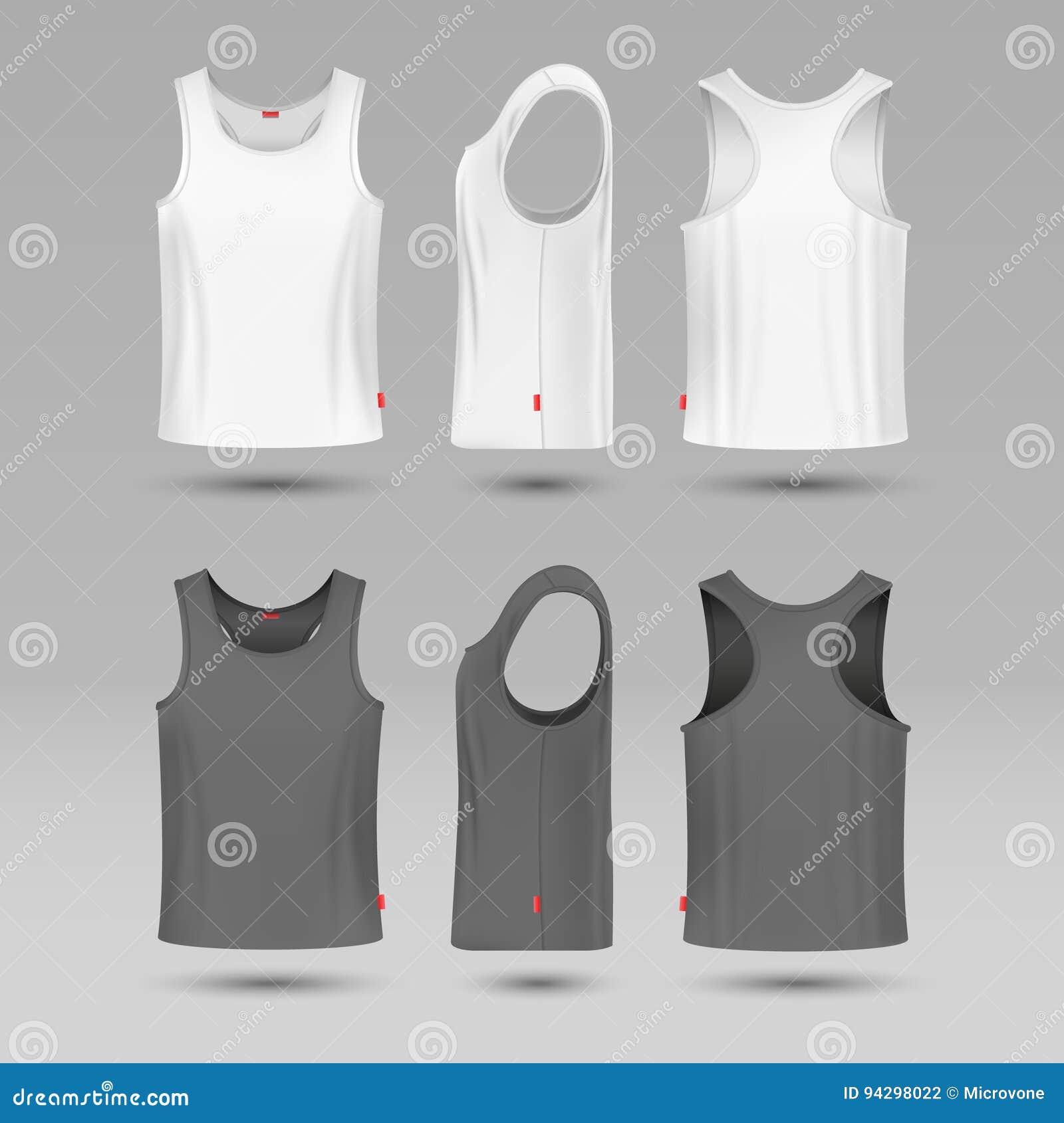 Obsługuje białego pustego cysternowego singlet Męska koszula bez rękawa wektoru szablonu