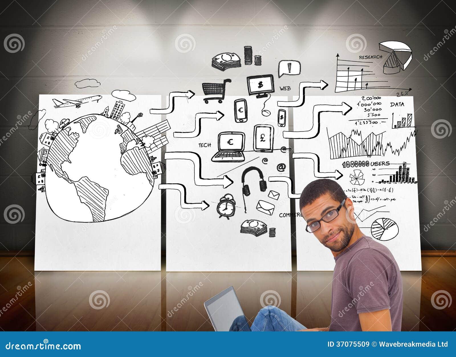 Download Obsługuje Być Ubranym Szkła Siedzi Na Podłogowym Używa Laptopie I Patrzeje Kamerę Ilustracji - Ilustracja złożonej z komputer, flowchart: 37075509