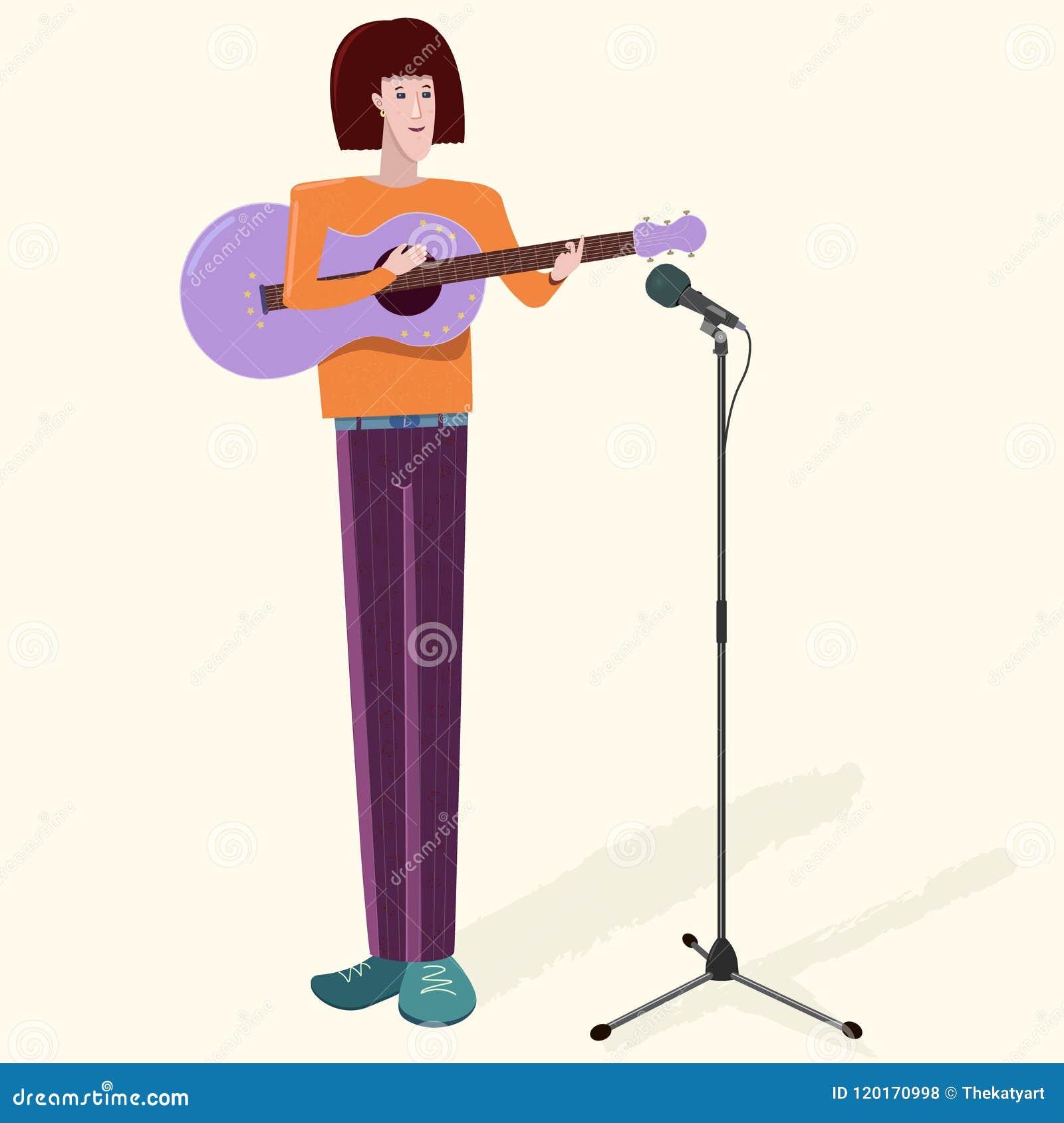 Obsługuje charakteru młodego muzyka z gitarą i mikrofonem Płaska wektorowa ilustracja