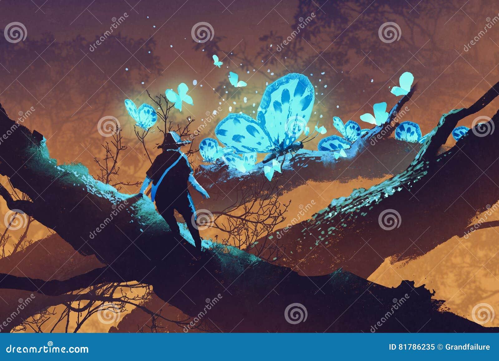 Obsługuje patrzeć gigantycznych błękitnych motyle odpoczywa na gałąź