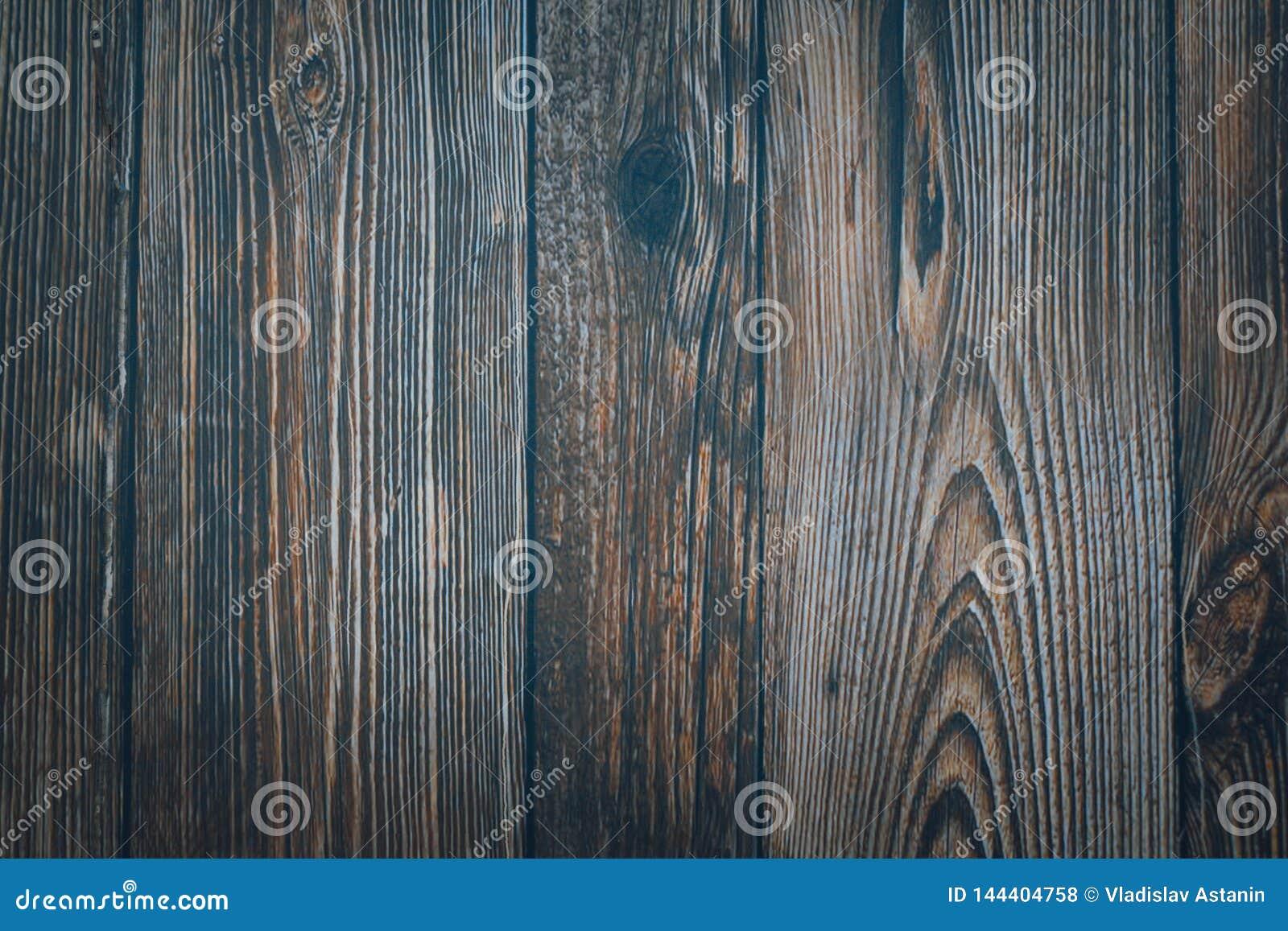 Obscuridade de madeira do vintage - placas horizontais azuis Front View Fundo para o projeto