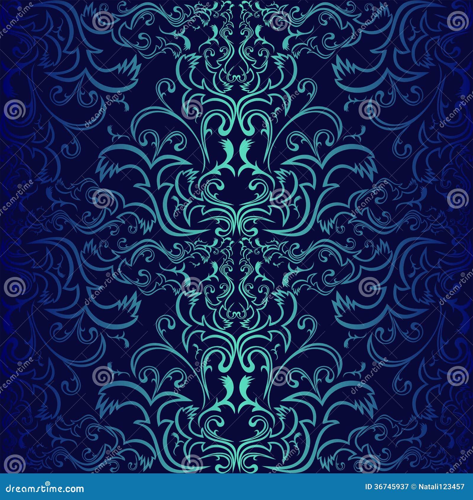 Obscuridade sem emenda papel de parede decorativo azul for Papel decorativo azul