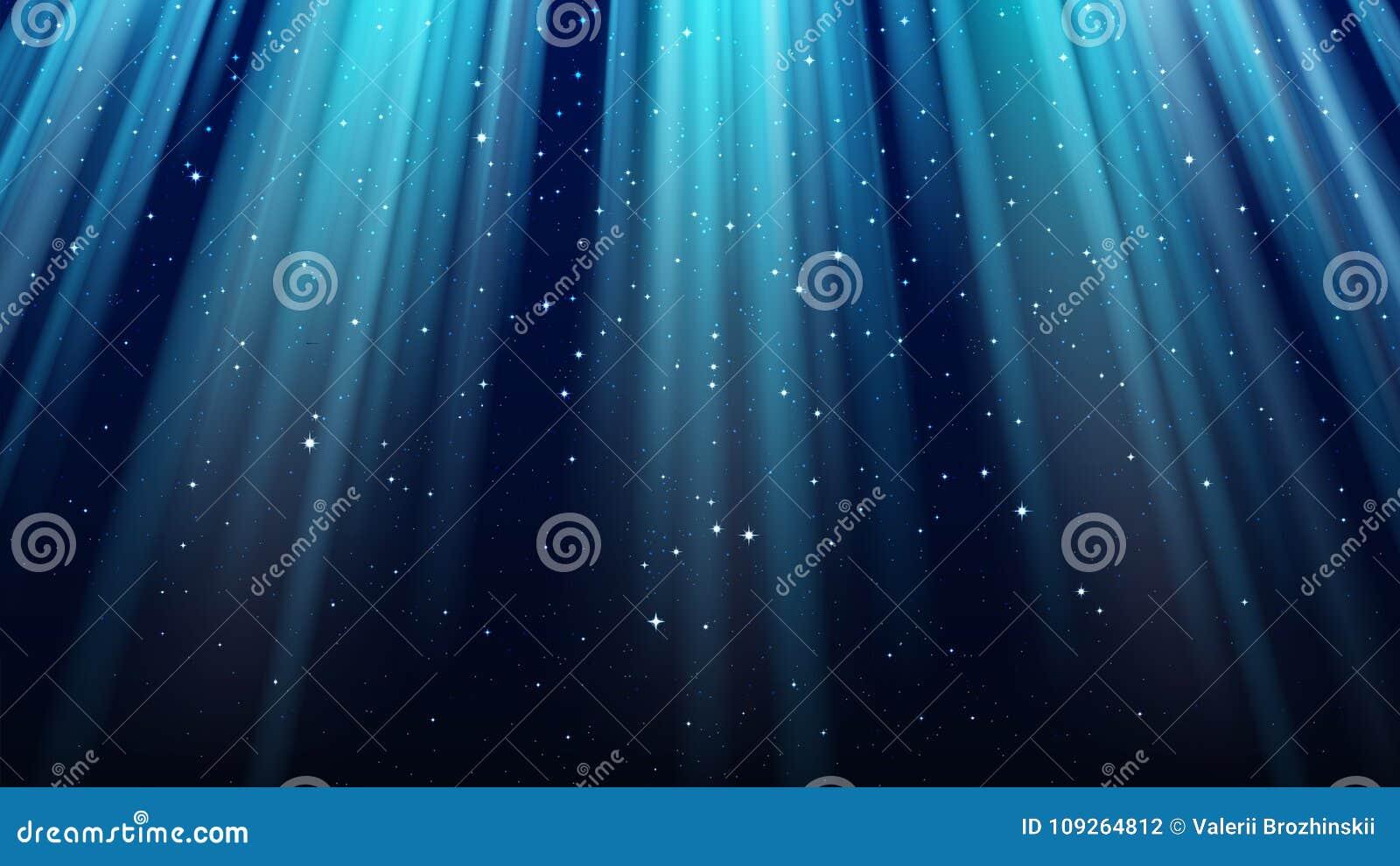 Obscuridade vazia - fundo azul com raios de luz, sparkles, céu de brilho da estrela da noite