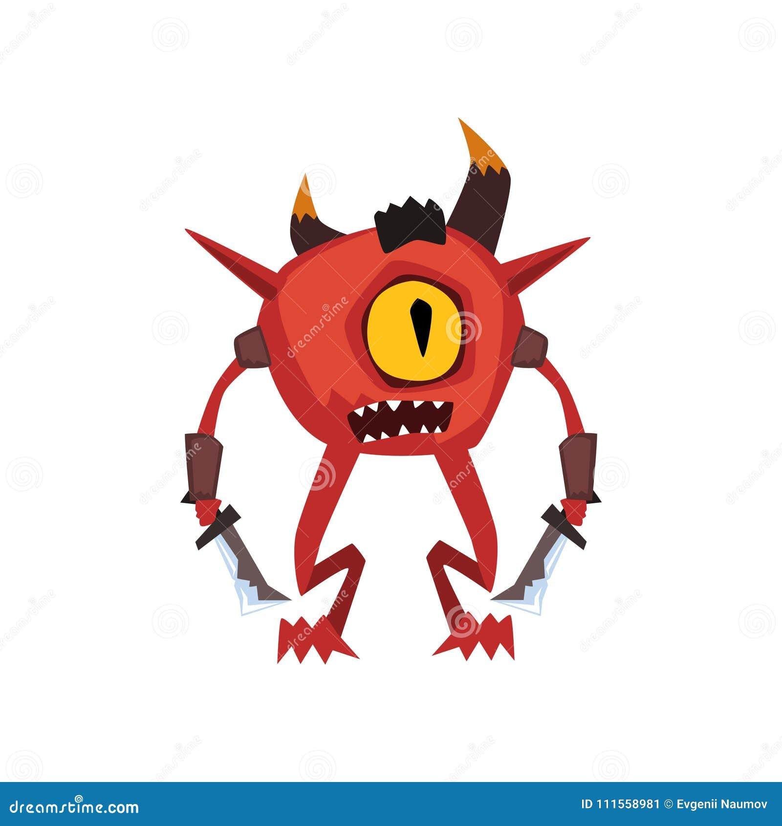 On a observé l illustration magique de vecteur de caractère de créature d imagination de monstre de guerrier sur un fond blanc