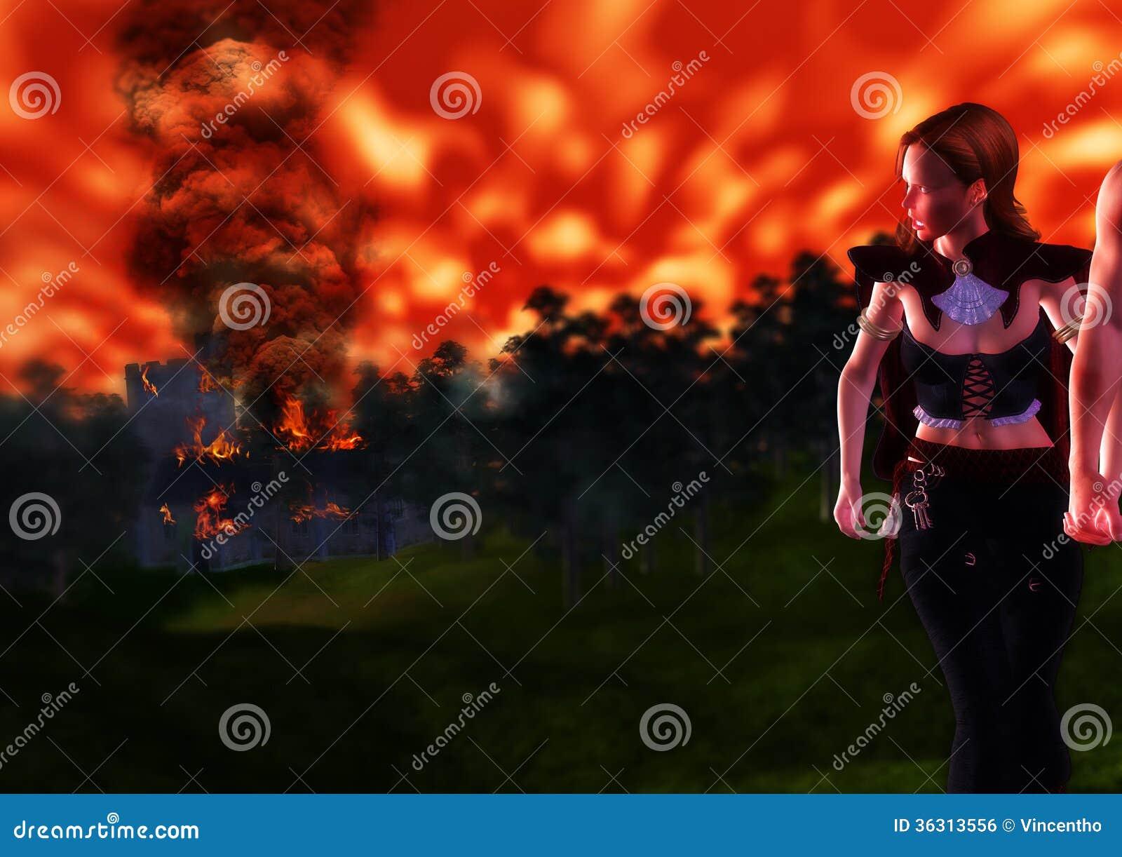 Observant l enfer avaler à la maison d éloigné